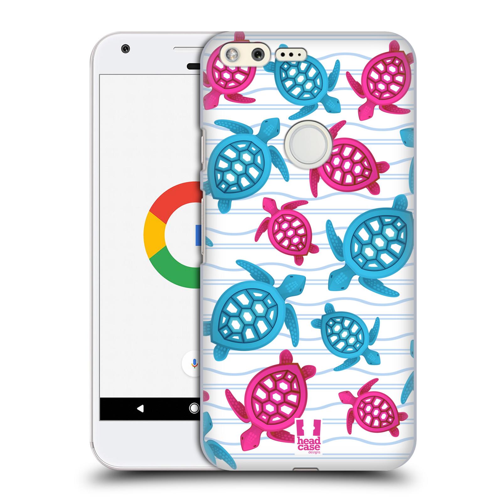 HEAD CASE plastový obal na mobil GOOGLE Pixel vzor mořský živočich želva modrá a růžová
