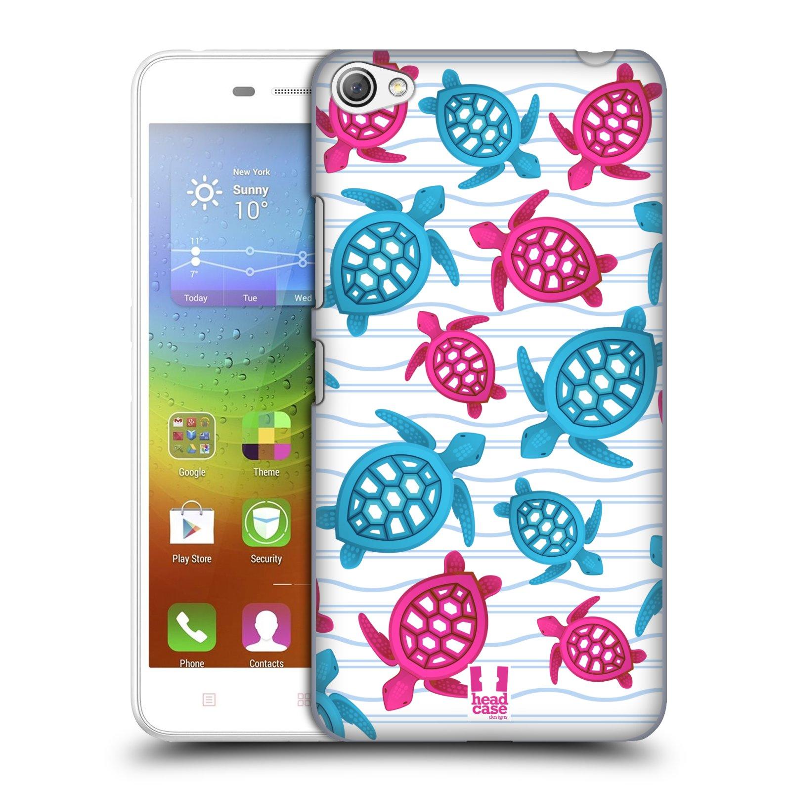 HEAD CASE pevný plastový obal na mobil LENOVO S60 / LENOVO S60 DUAL SIM vzor mořský živočich želva modrá a růžová
