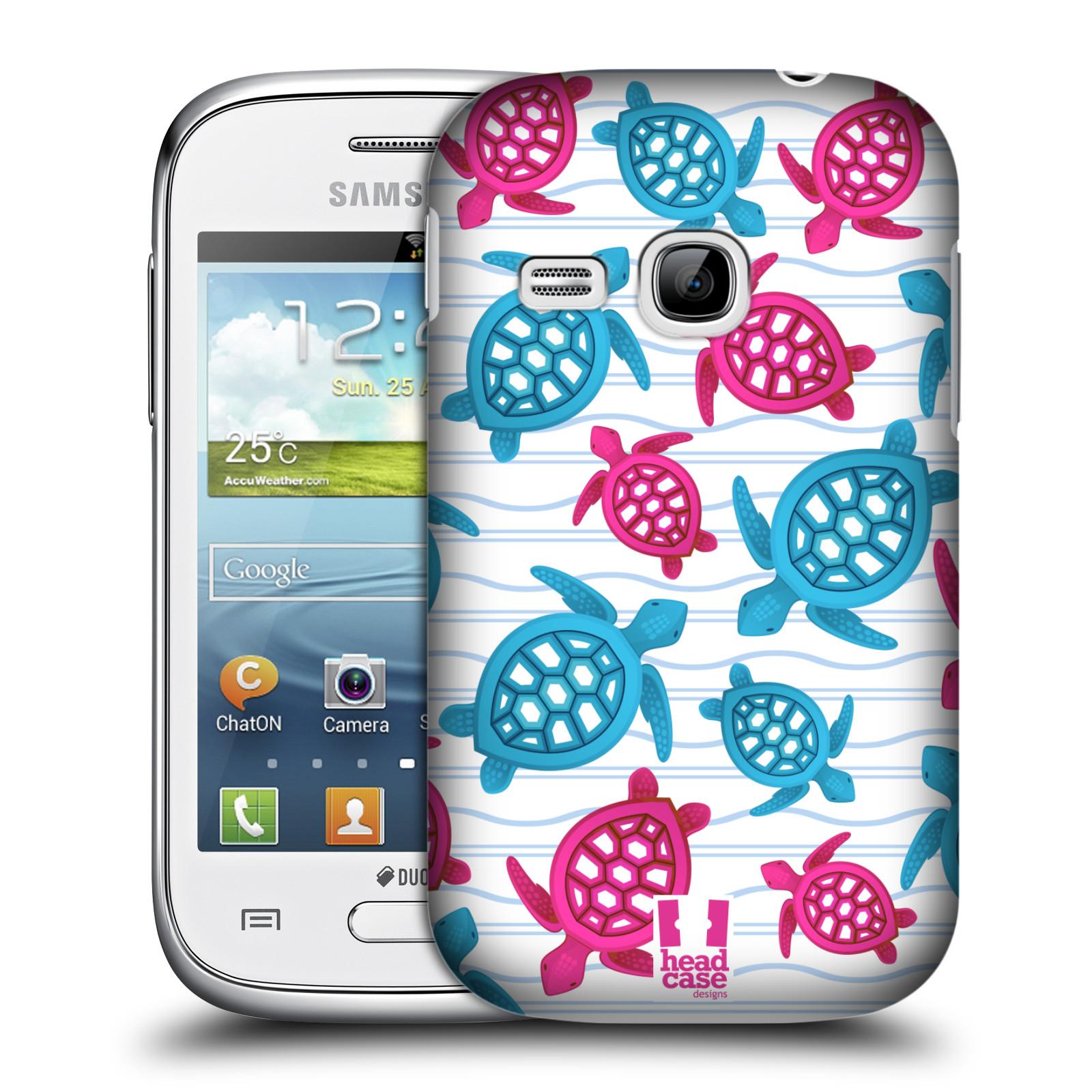 HEAD CASE plastový obal na mobil SAMSUNG Galaxy Young S6310 vzor mořský živočich želva modrá a růžová