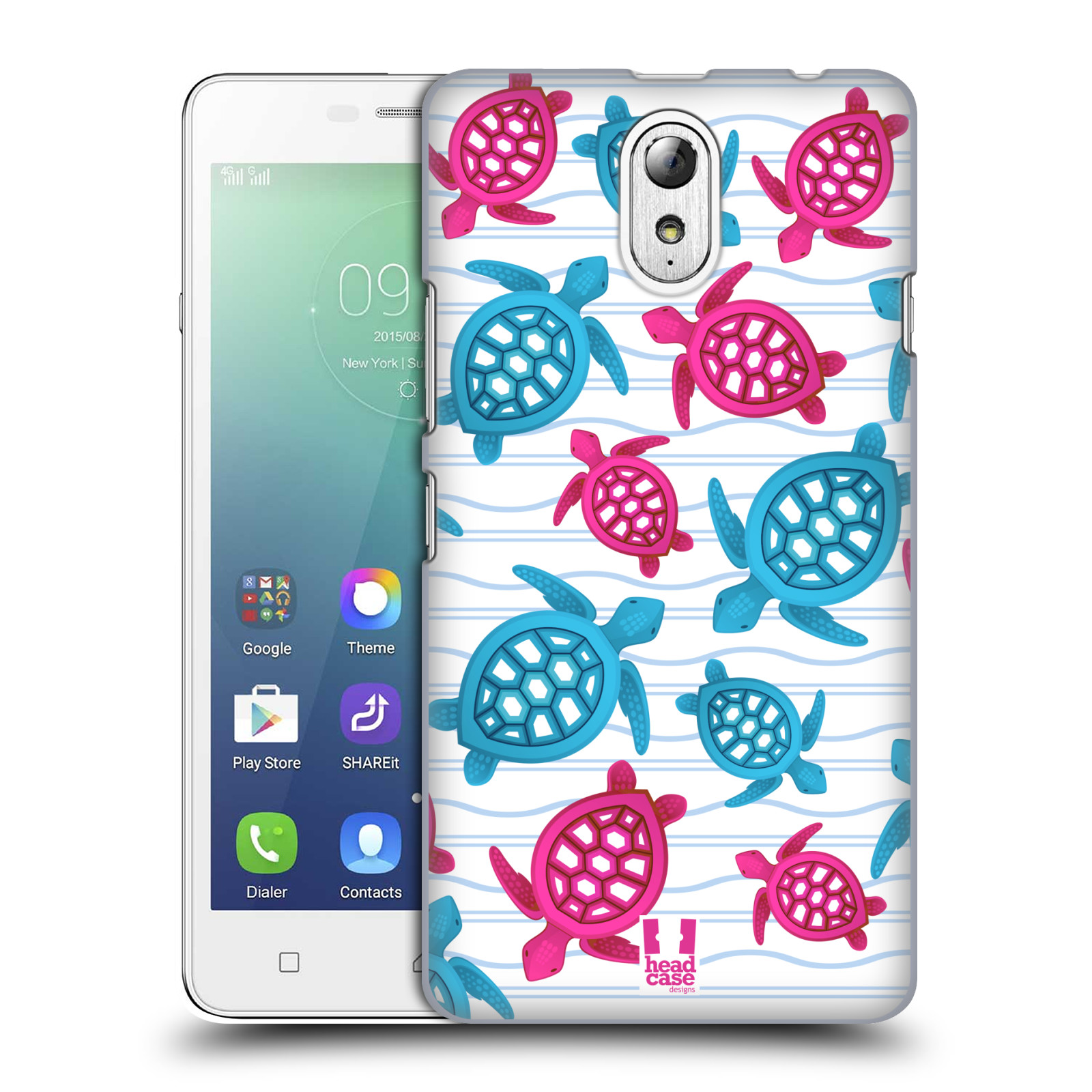 HEAD CASE pevný plastový obal na mobil LENOVO VIBE P1m / LENOVO VIBE p1m DUAL SIM vzor mořský živočich želva modrá a růžová