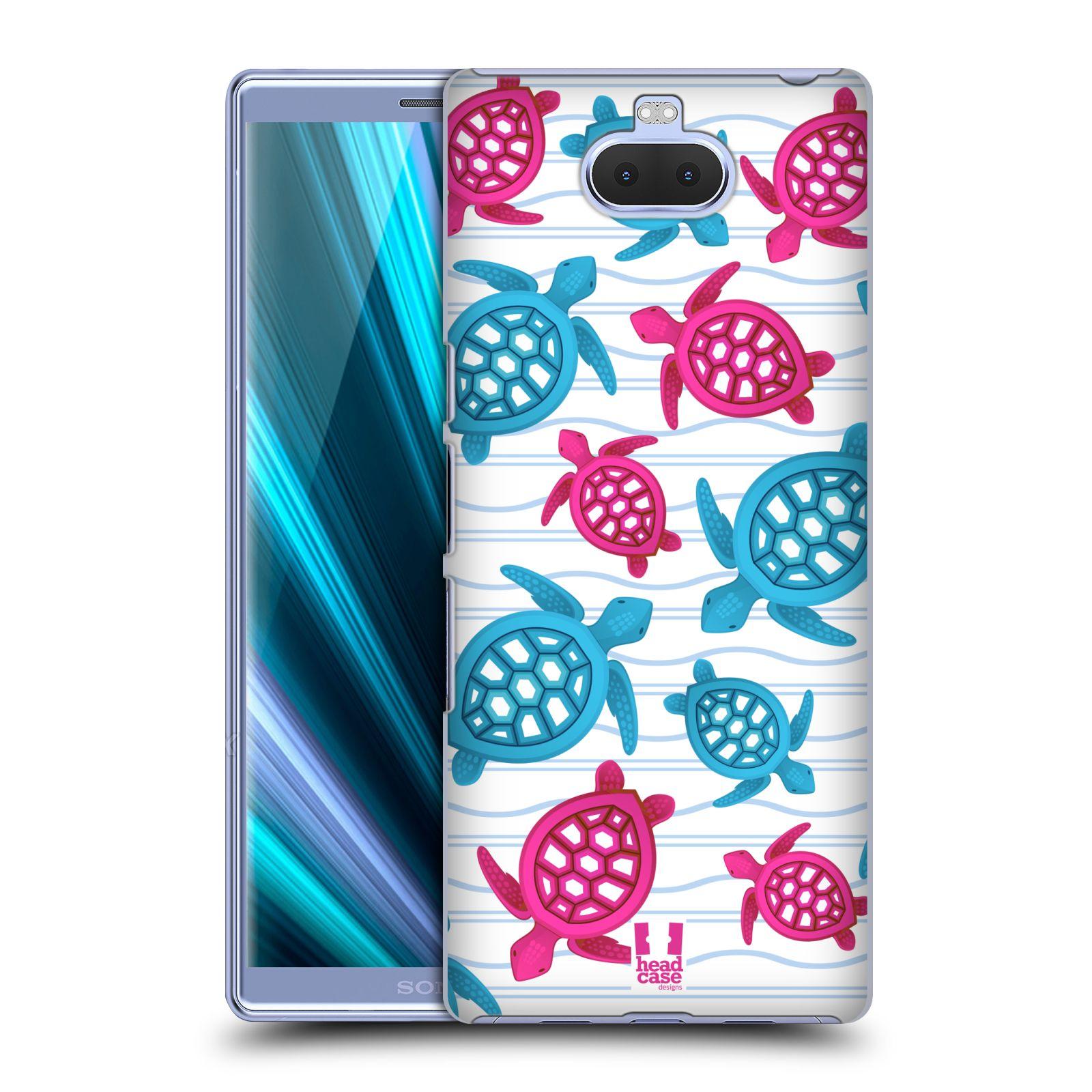 Pouzdro na mobil Sony Xperia 10 - Head Case - vzor mořský živočich želva modrá a růžová