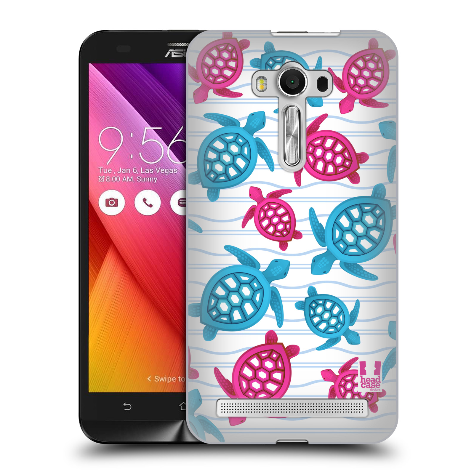 HEAD CASE plastový obal na mobil Asus Zenfone 2 LASER (5,5 displej ZE550KL) vzor mořský živočich želva modrá a růžová