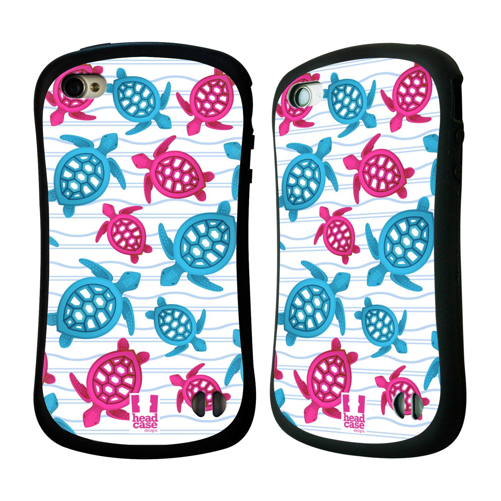HEAD CASE silikon/plast odolný obal na mobil Apple Iphone 4/4S vzor mořský živočich želva modrá a růžová