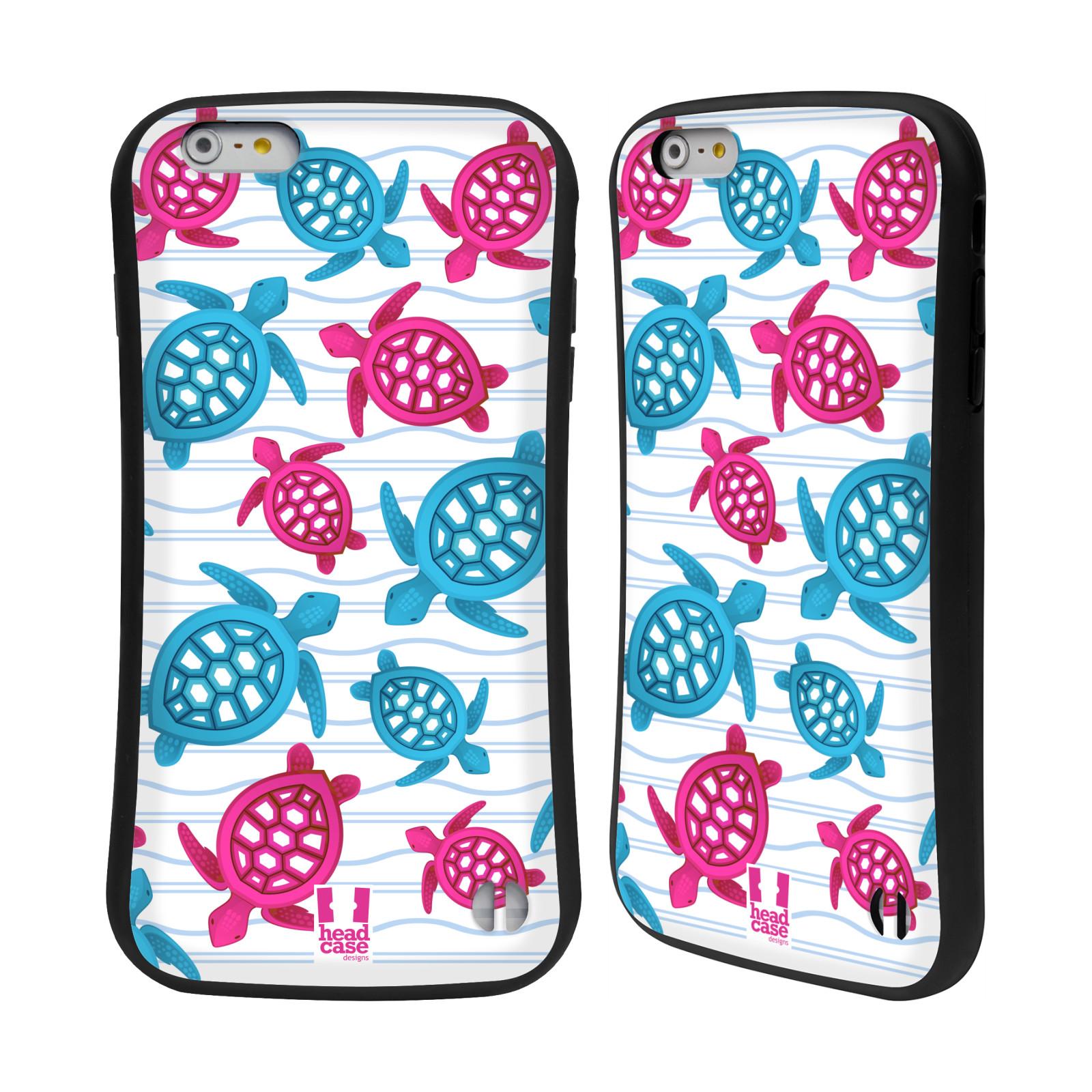 HEAD CASE silikon/plast odolný obal na mobil Apple Iphone 6 PLUS / 6S PLUS vzor mořský živočich želva modrá a růžová