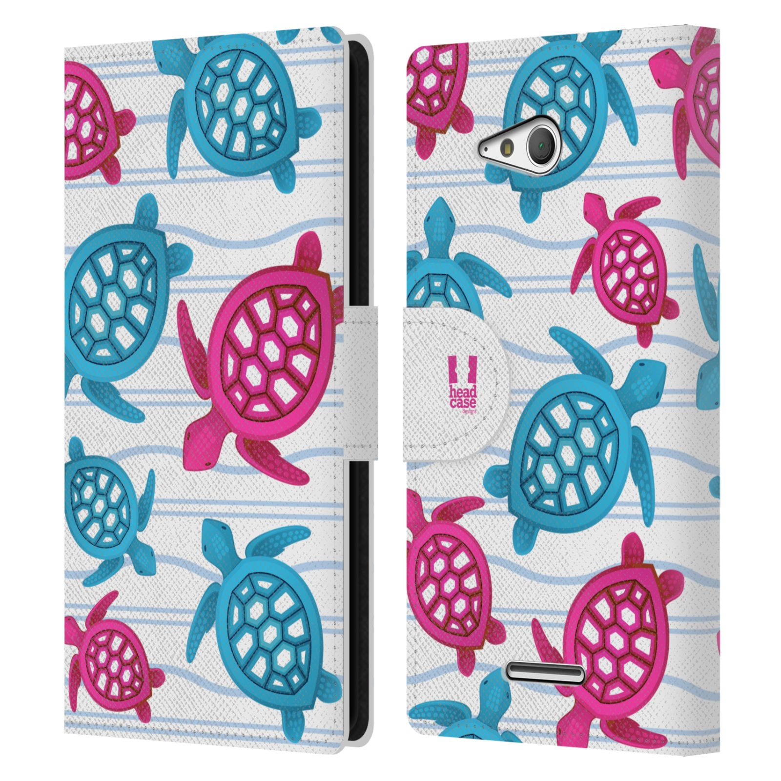 HEAD CASE Flipové pouzdro pro mobil SONY XPERIA E4g Mořský živočich malé želvičky