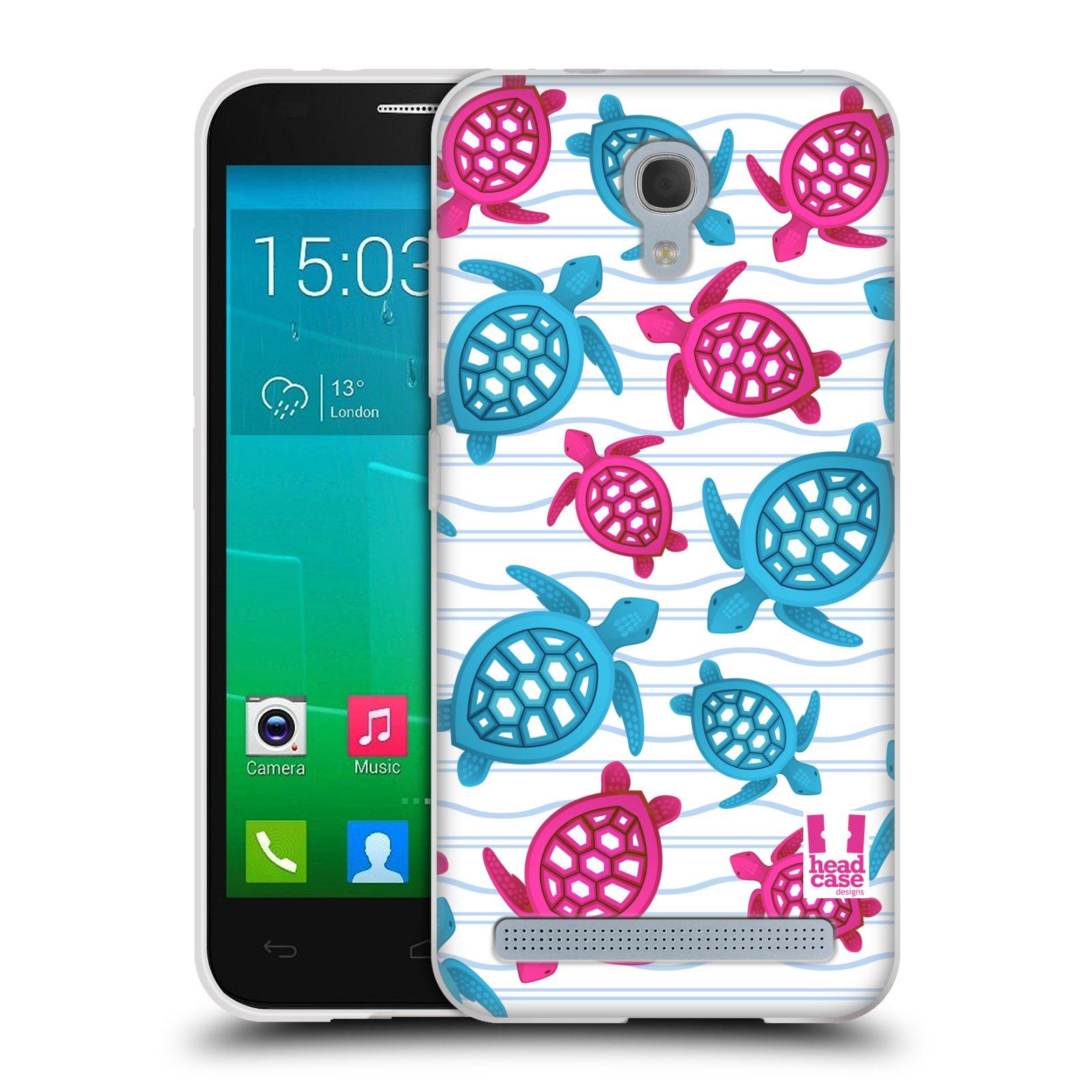 HEAD CASE silikonový obal na mobil Alcatel Idol 2 MINI S 6036Y vzor mořský živočich želva modrá a růžová