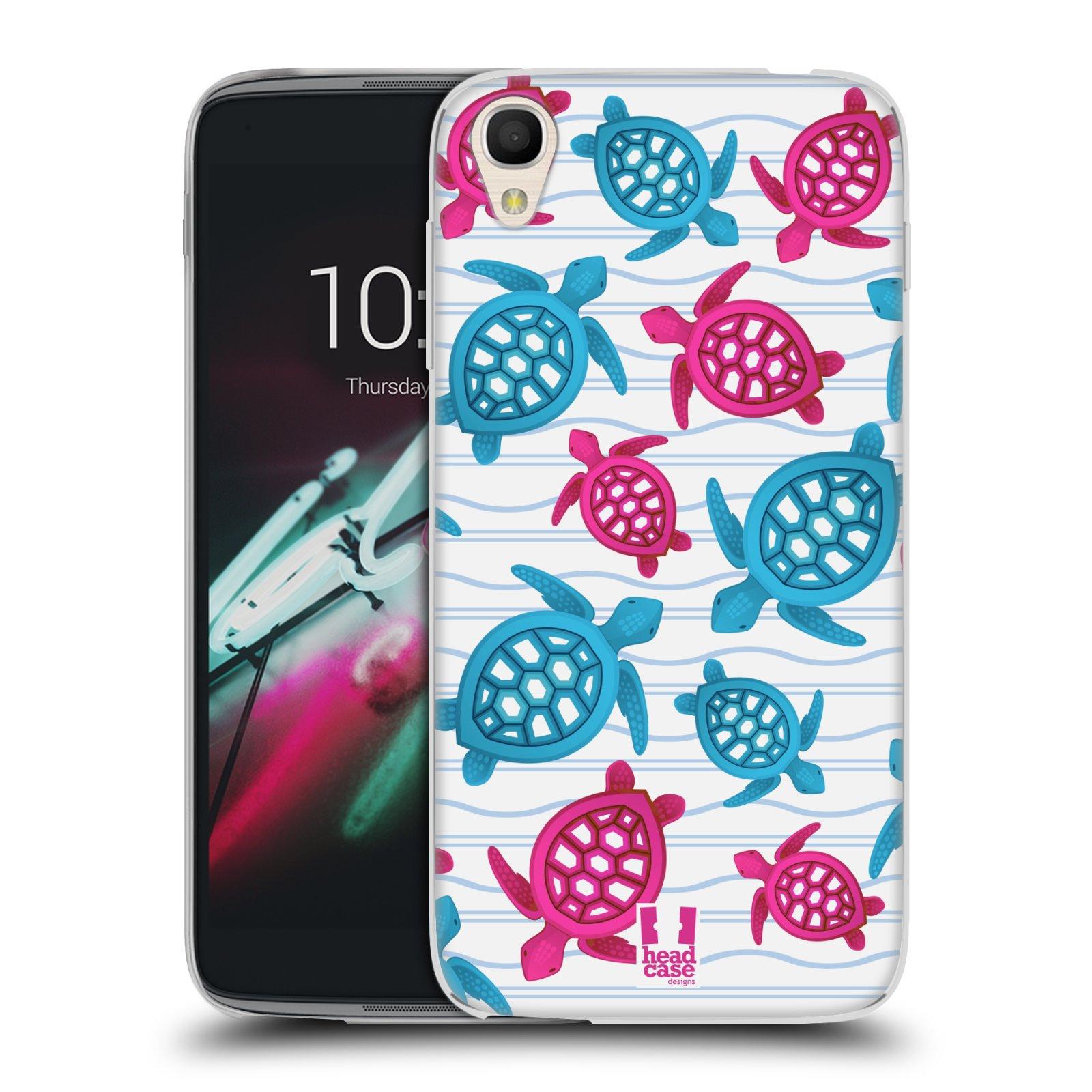HEAD CASE silikonový obal na mobil Alcatel Idol 3 OT-6039Y (4.7) vzor mořský živočich želva modrá a růžová