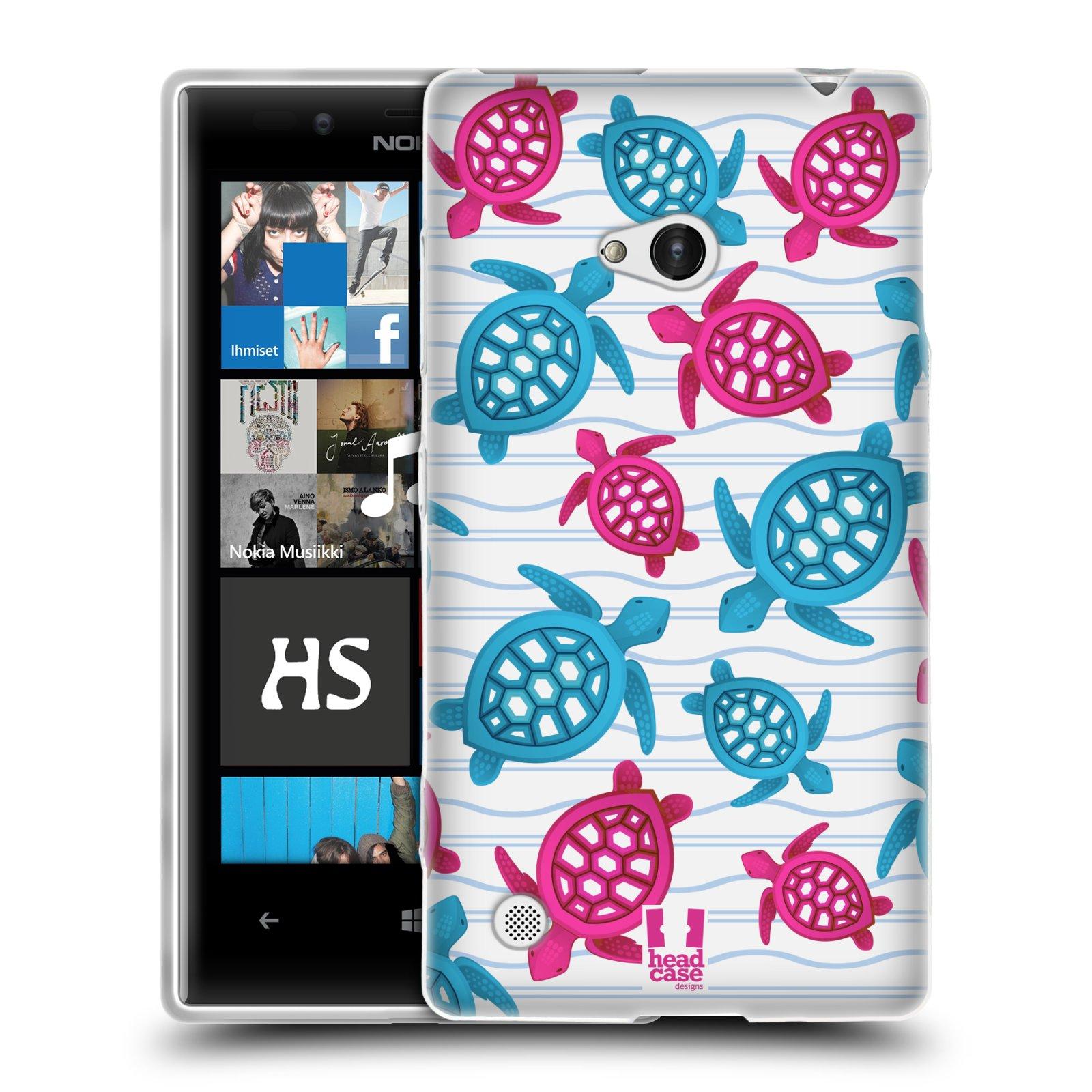 HEAD CASE silikonový obal na mobil NOKIA Lumia 720 vzor mořský živočich želva modrá a růžová