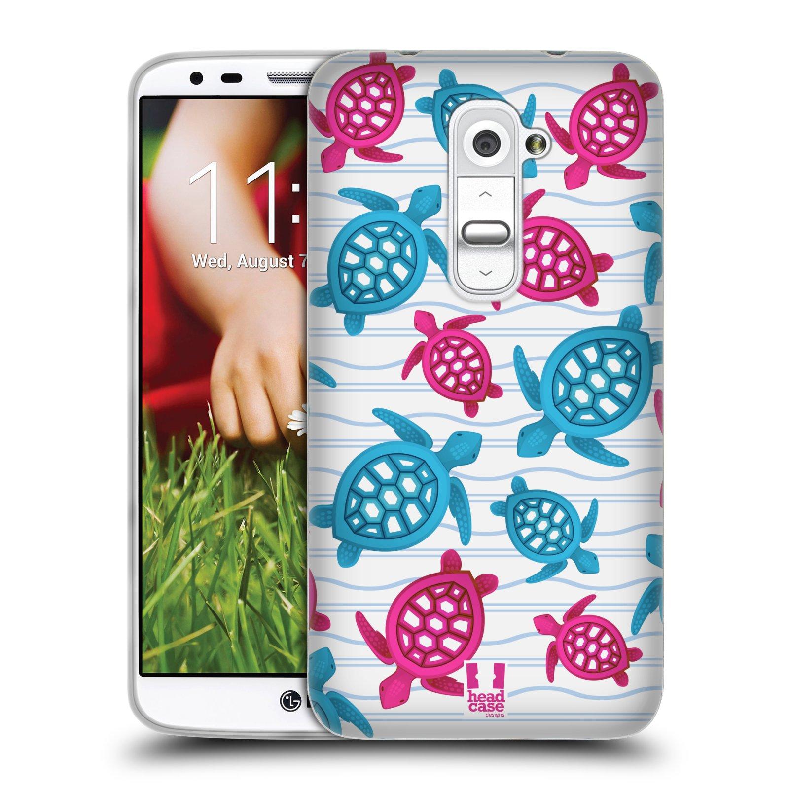 HEAD CASE silikonový obal na mobil LG G2 vzor mořský živočich želva modrá a růžová