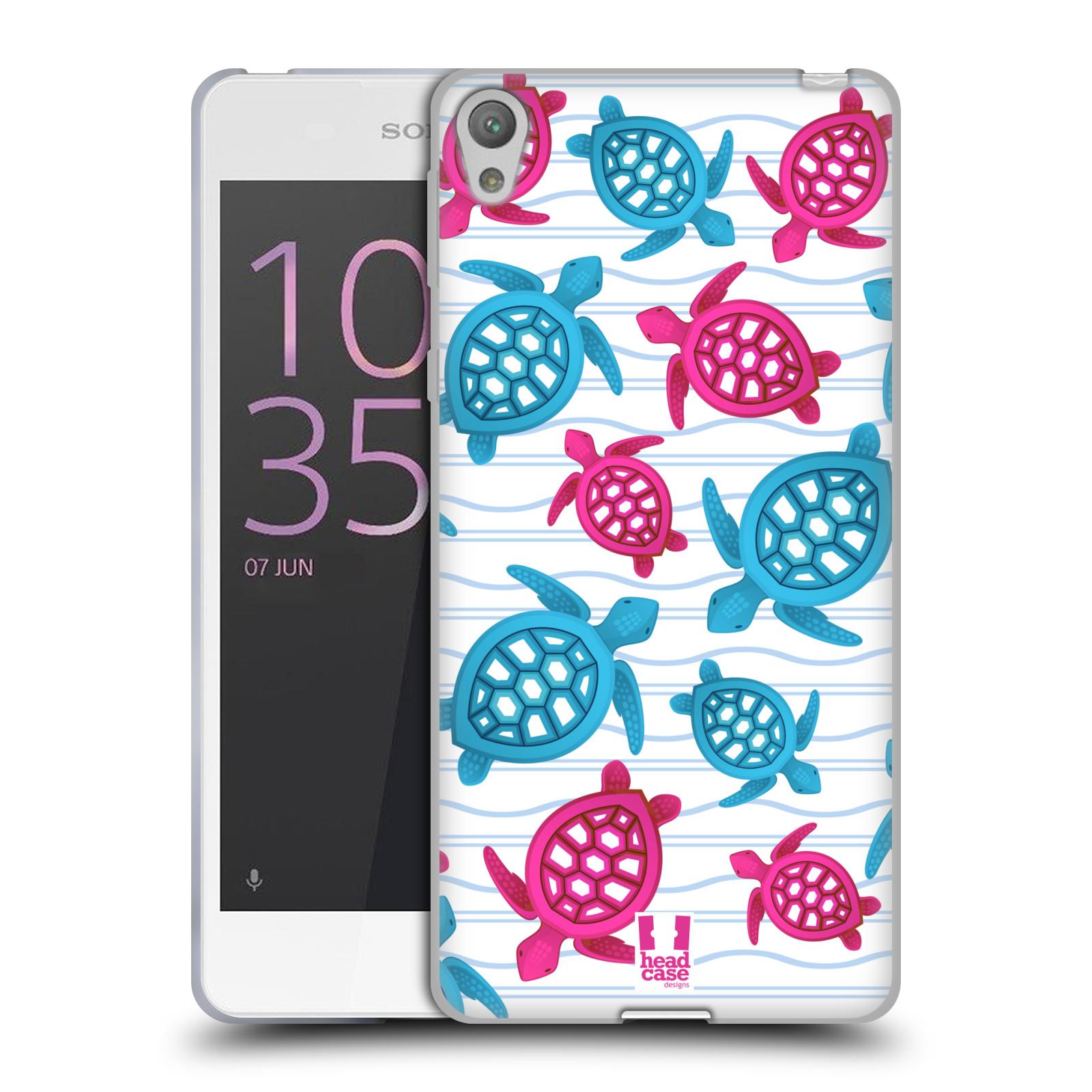 HEAD CASE silikonový obal na mobil SONY XPERIA E5 vzor mořský živočich želva modrá a růžová