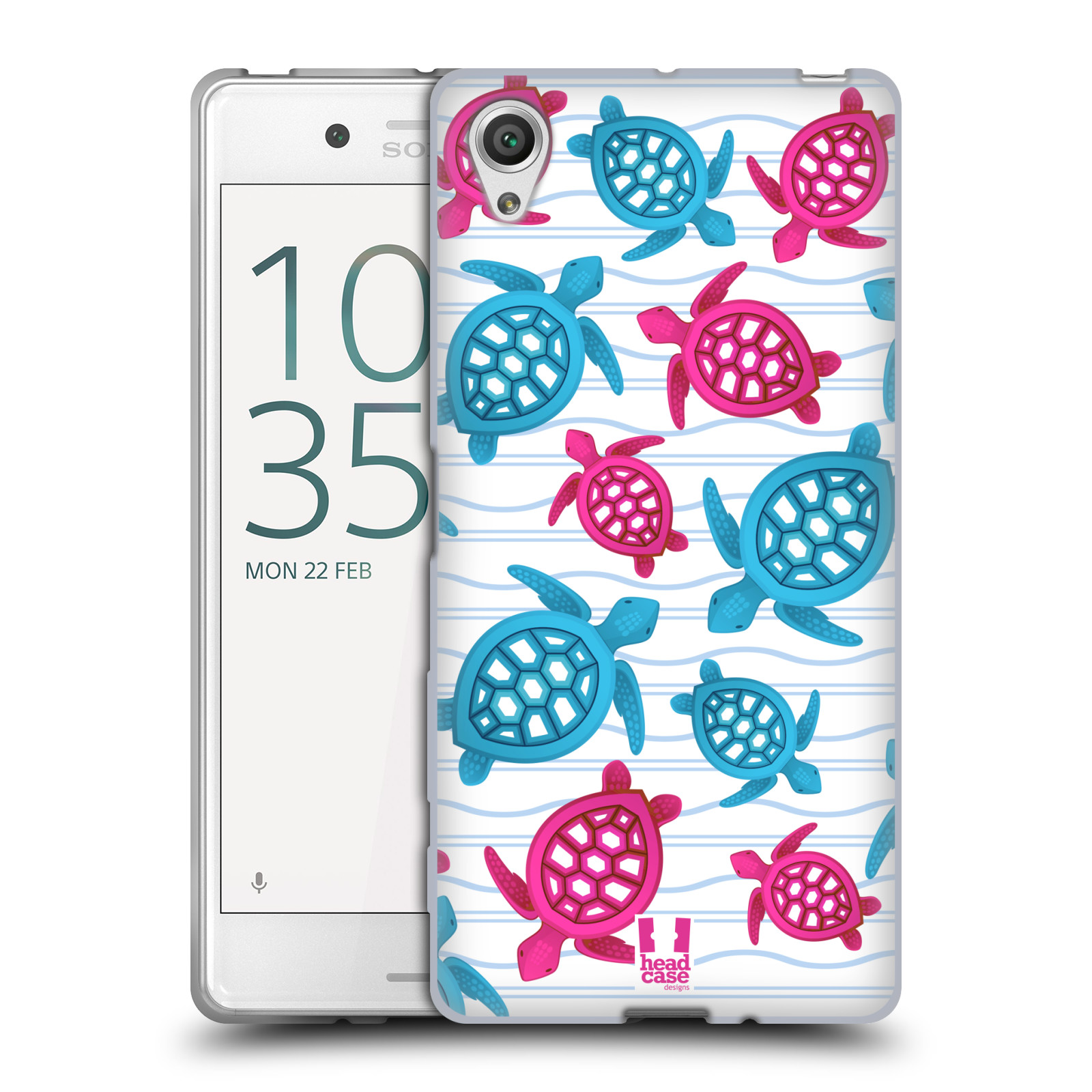 HEAD CASE silikonový obal na mobil Sony Xperia X / X DUAL vzor mořský živočich želva modrá a růžová