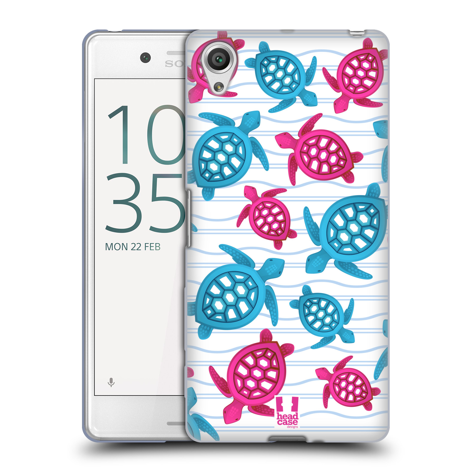 HEAD CASE silikonový obal na mobil Sony Xperia X PERFORMANCE (F8131, F8132) vzor mořský živočich želva modrá a růžová