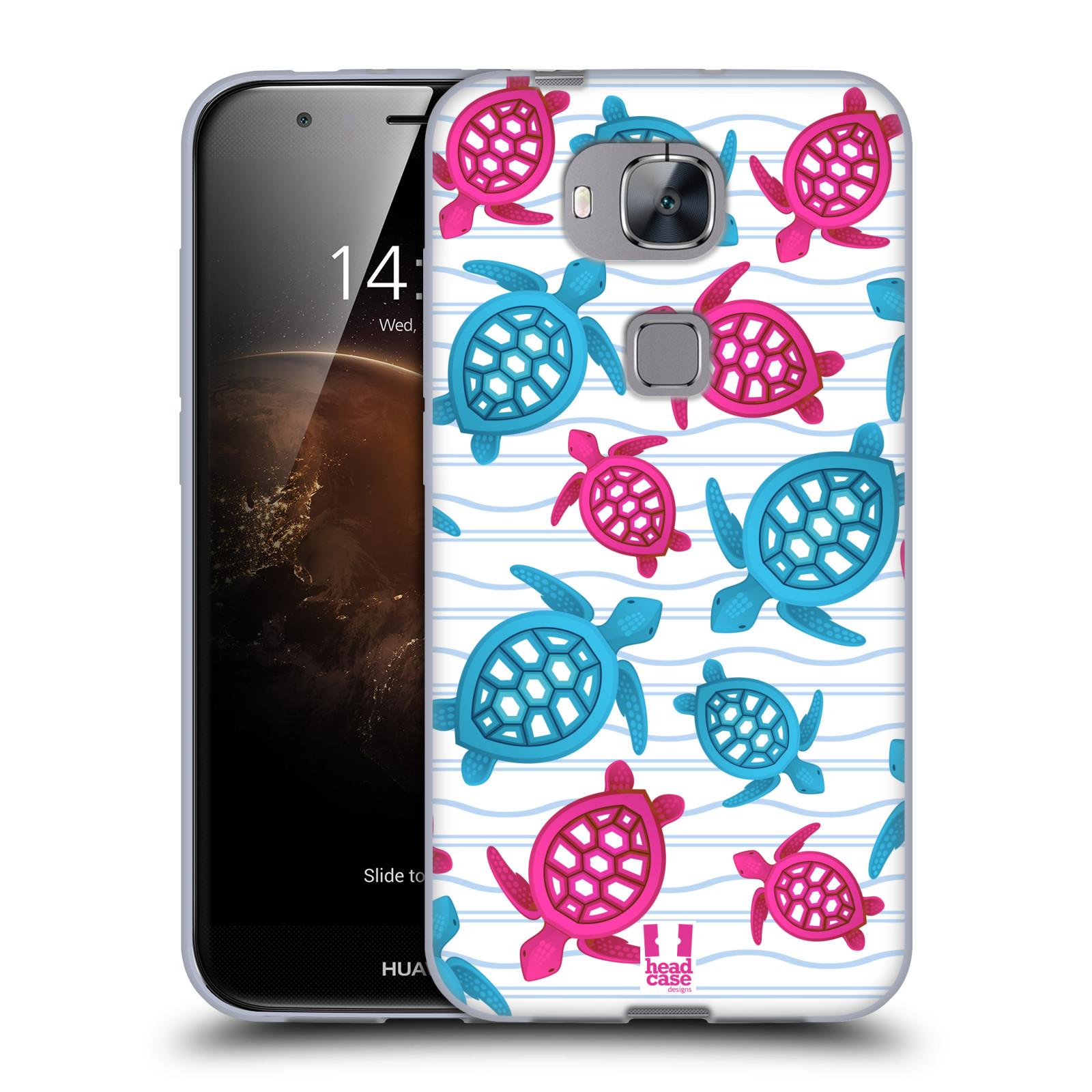 HEAD CASE silikonový obal na mobil HUAWEI G8 vzor mořský živočich želva modrá a růžová