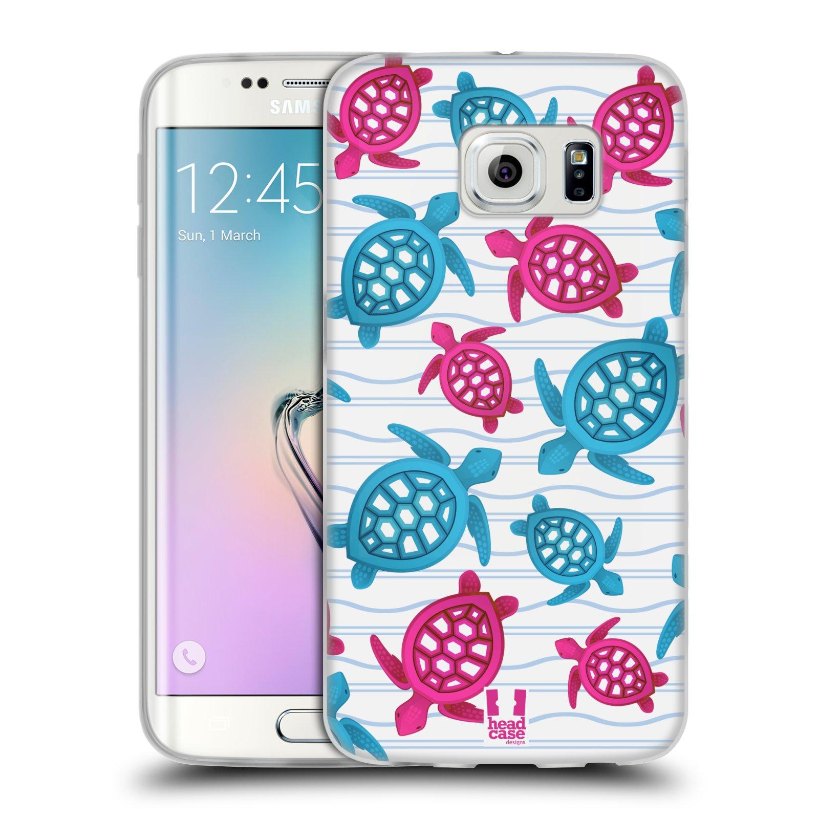 HEAD CASE silikonový obal na mobil Samsung Galaxy S6 EDGE vzor mořský živočich želva modrá a růžová