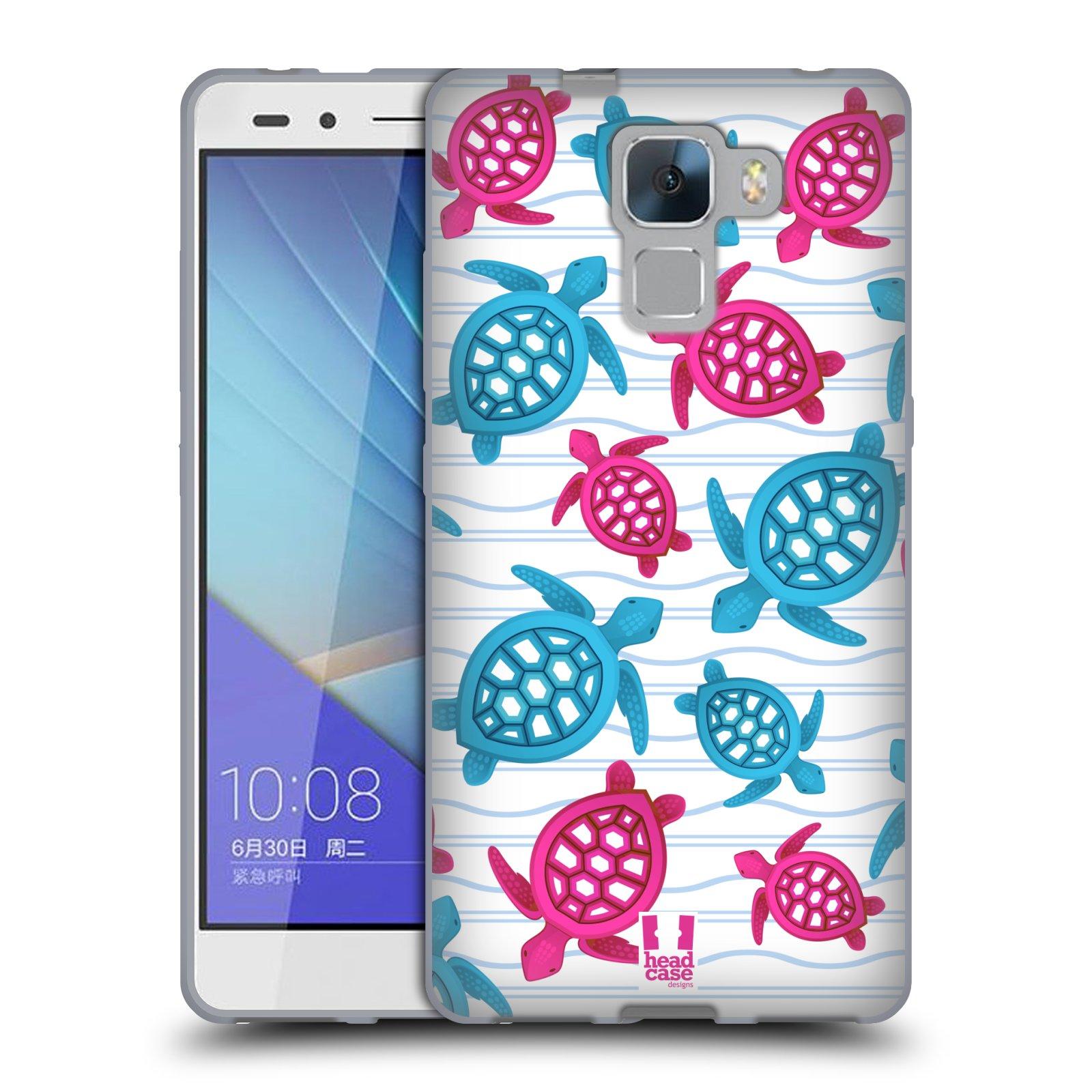 HEAD CASE silikonový obal na mobil HUAWEI HONOR 7 vzor mořský živočich želva modrá a růžová