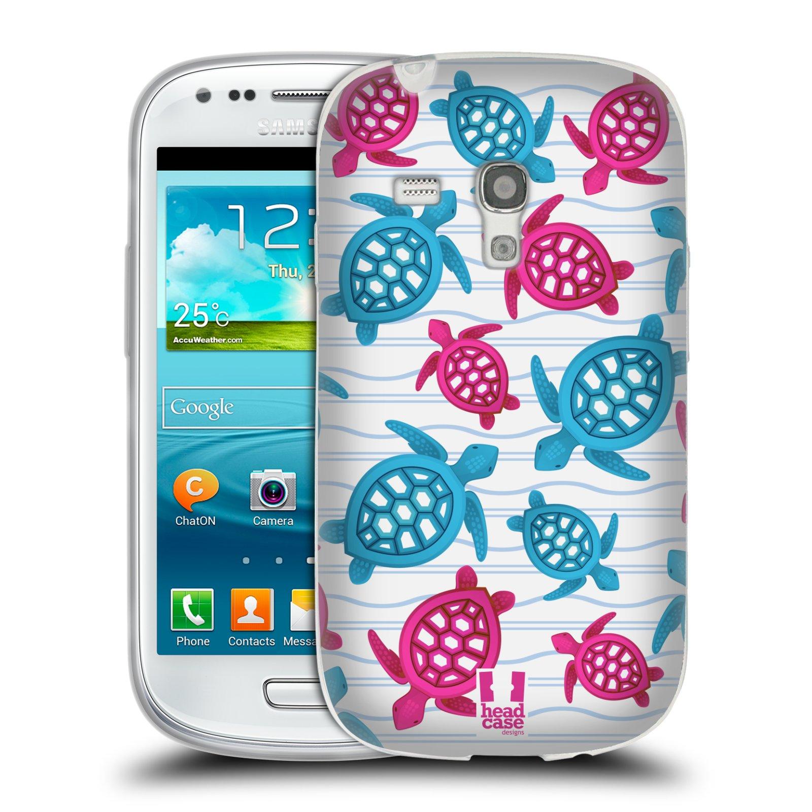 HEAD CASE silikonový obal na mobil Samsung Galaxy S3 MINI i8190 vzor mořský živočich želva modrá a růžová