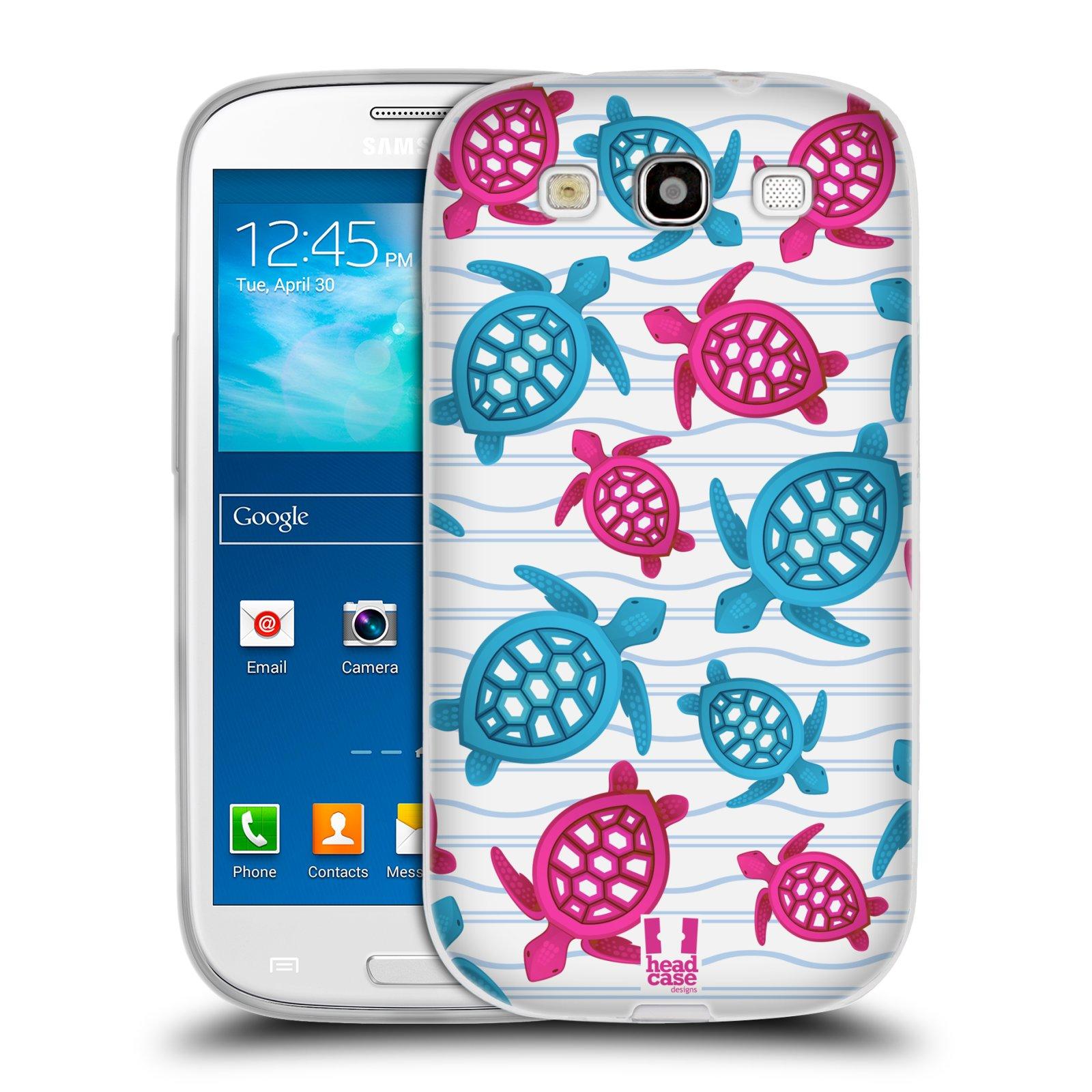 HEAD CASE silikonový obal na mobil Samsung Galaxy S3 i9300 vzor mořský živočich želva modrá a růžová
