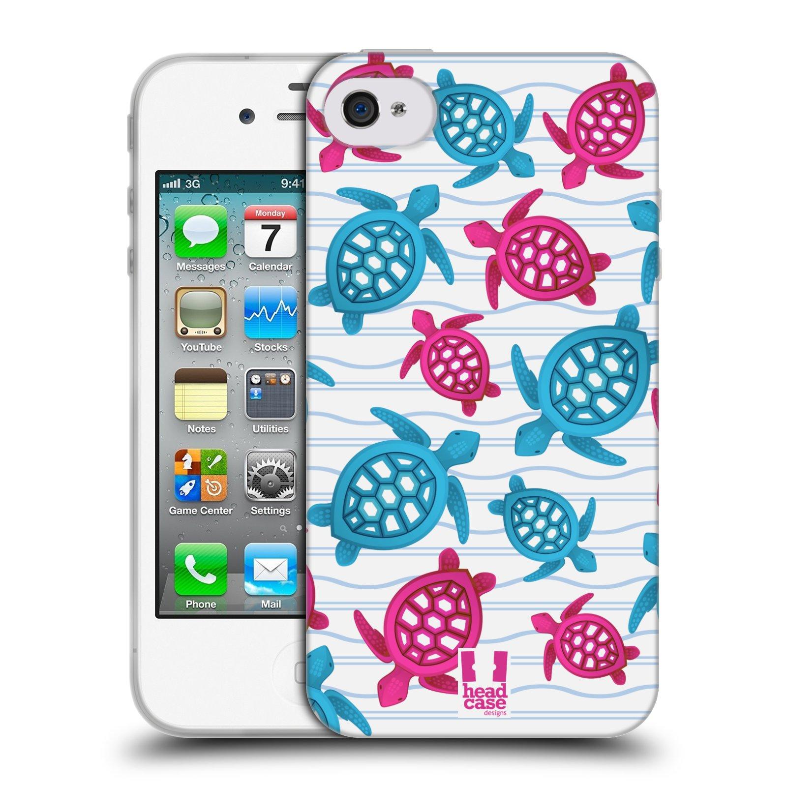 HEAD CASE silikonový obal na mobil Apple Iphone 4/4S vzor mořský živočich želva modrá a růžová