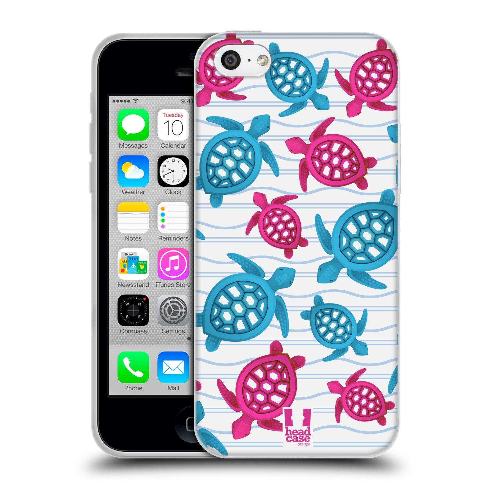 HEAD CASE silikonový obal na mobil Apple Iphone 5C vzor mořský živočich želva modrá a růžová