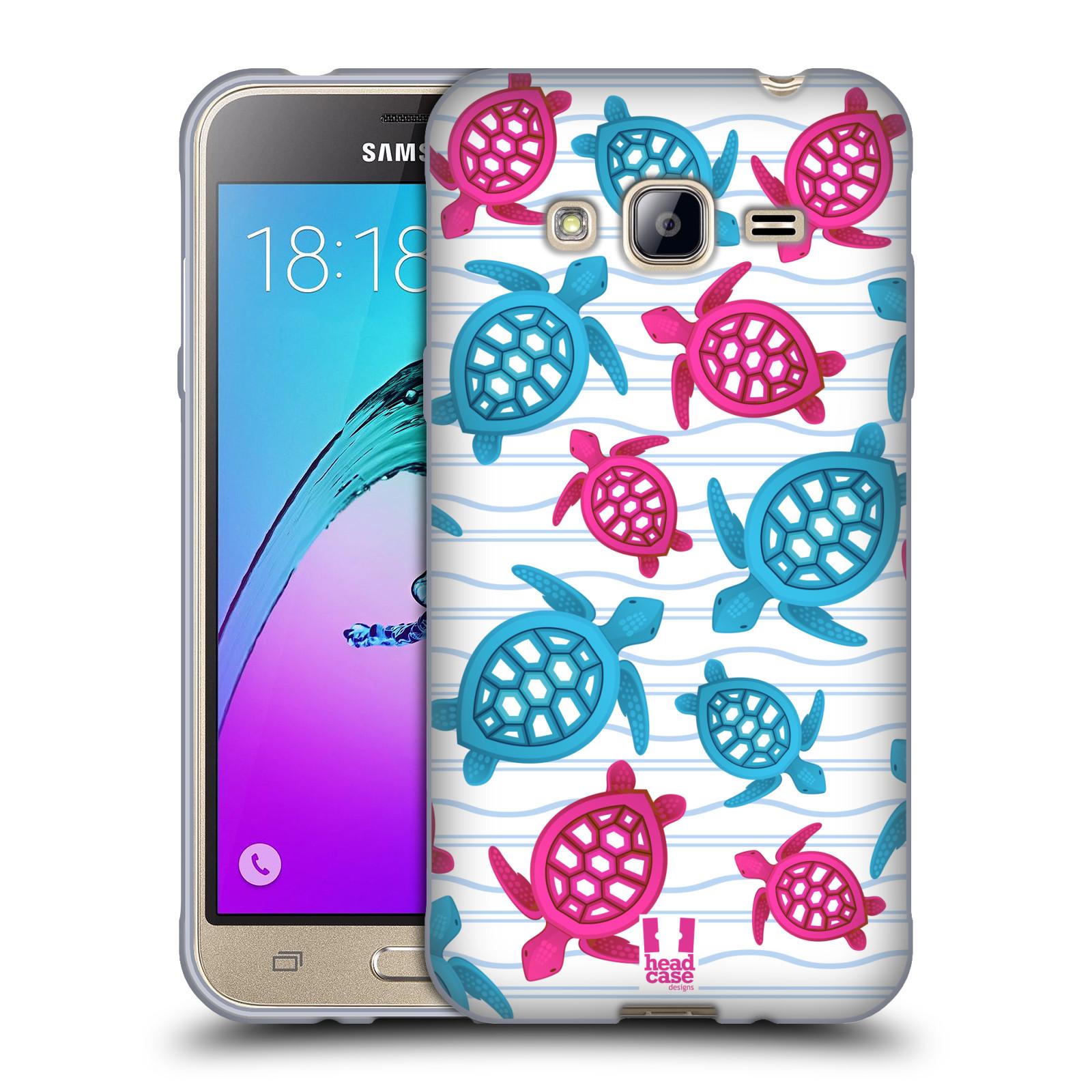 HEAD CASE silikonový obal na mobil Samsung Galaxy J3, J3 2016 vzor mořský živočich želva modrá a růžová