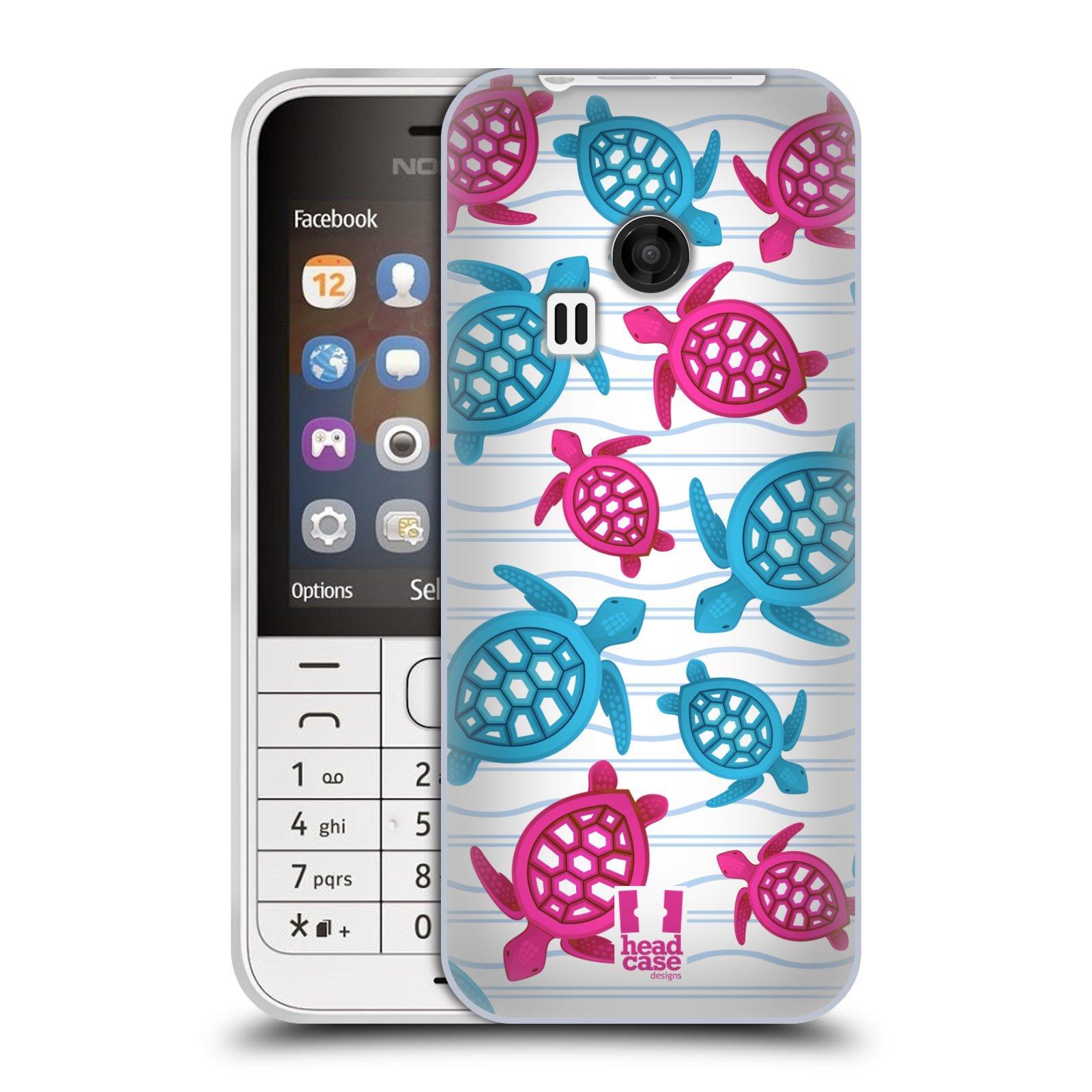 HEAD CASE silikonový obal na mobil NOKIA 220 / NOKIA 220 DUAL SIM vzor mořský živočich želva modrá a růžová