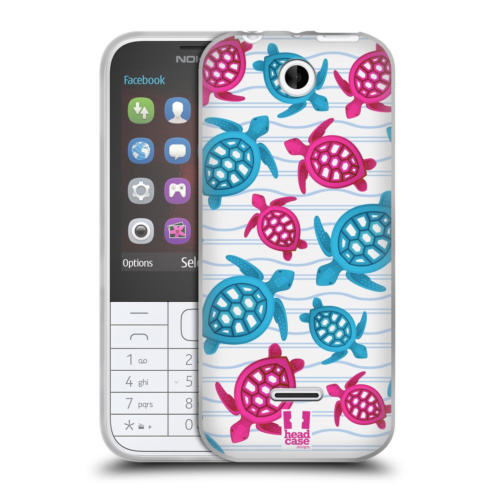 HEAD CASE silikonový obal na mobil NOKIA 225 / NOKIA 225 DUAL SIM vzor mořský živočich želva modrá a růžová