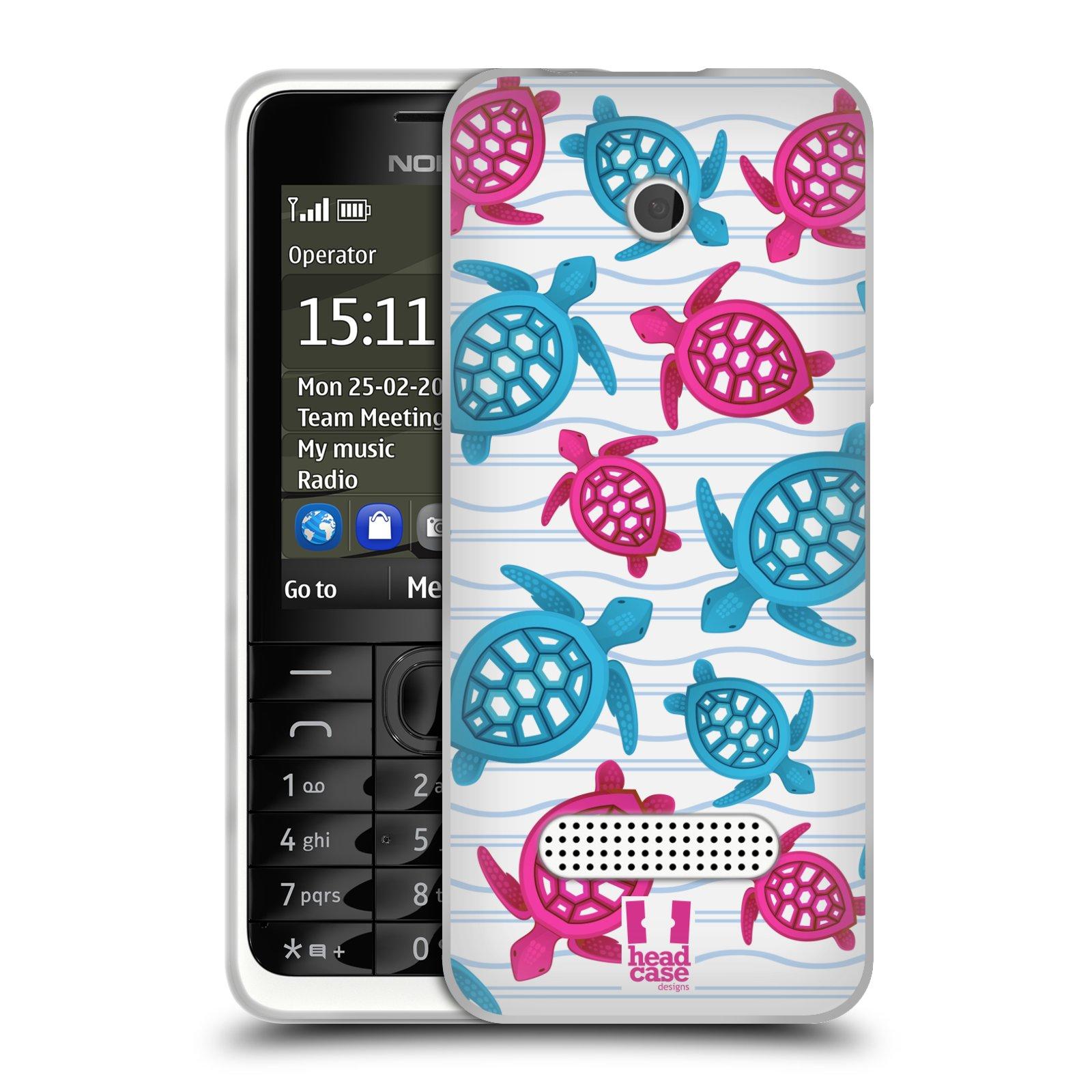HEAD CASE silikonový obal na mobil NOKIA 301 vzor mořský živočich želva modrá a růžová
