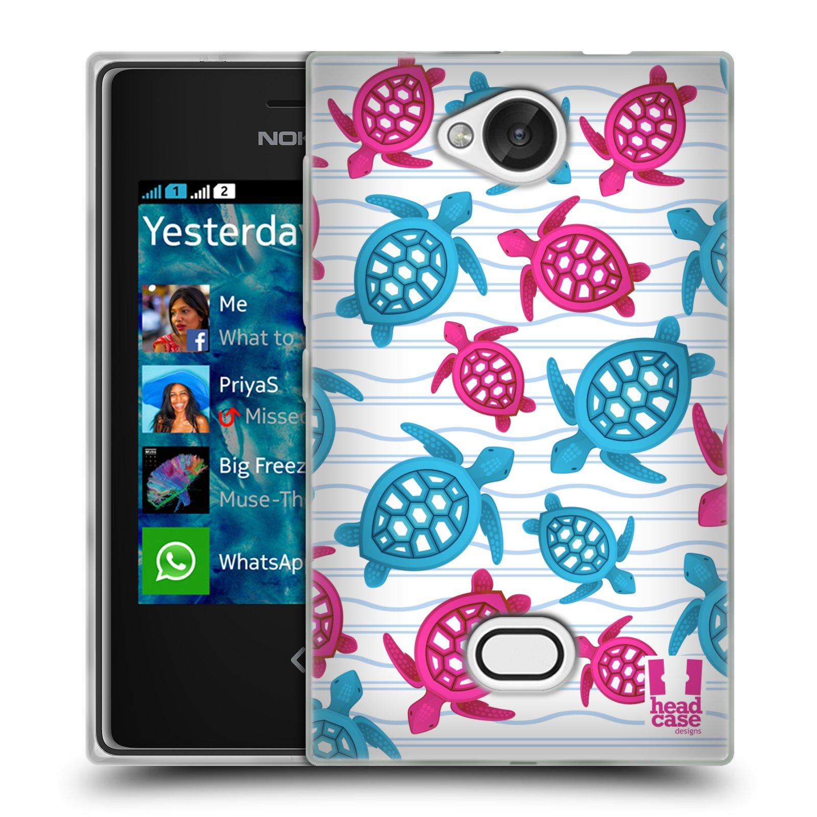 HEAD CASE silikonový obal na mobil NOKIA Asha 503 vzor mořský živočich želva modrá a růžová