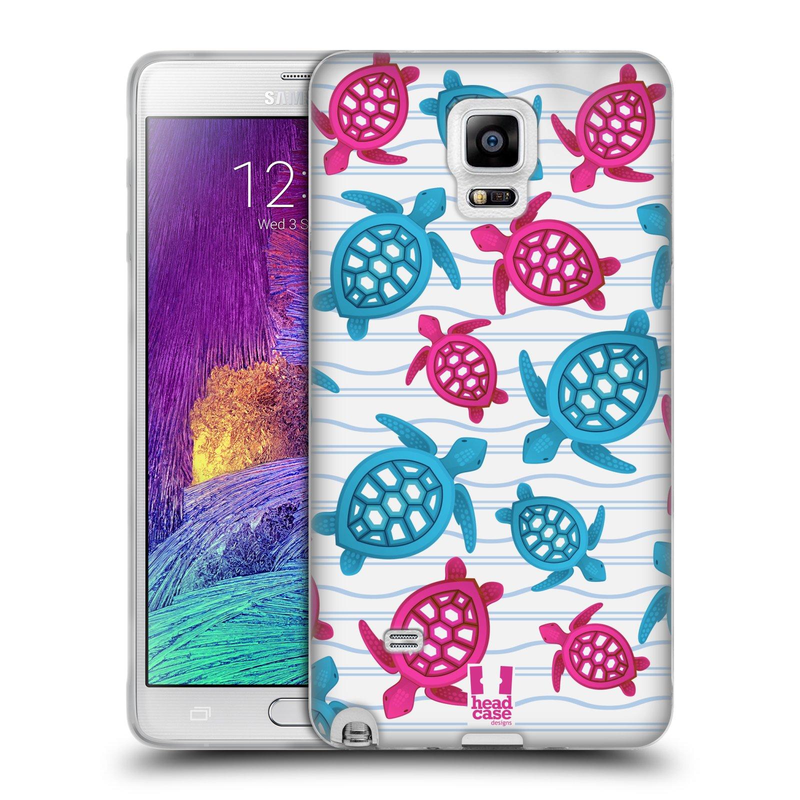 HEAD CASE silikonový obal na mobil Samsung Galaxy Note 4 (N910) vzor mořský živočich želva modrá a růžová