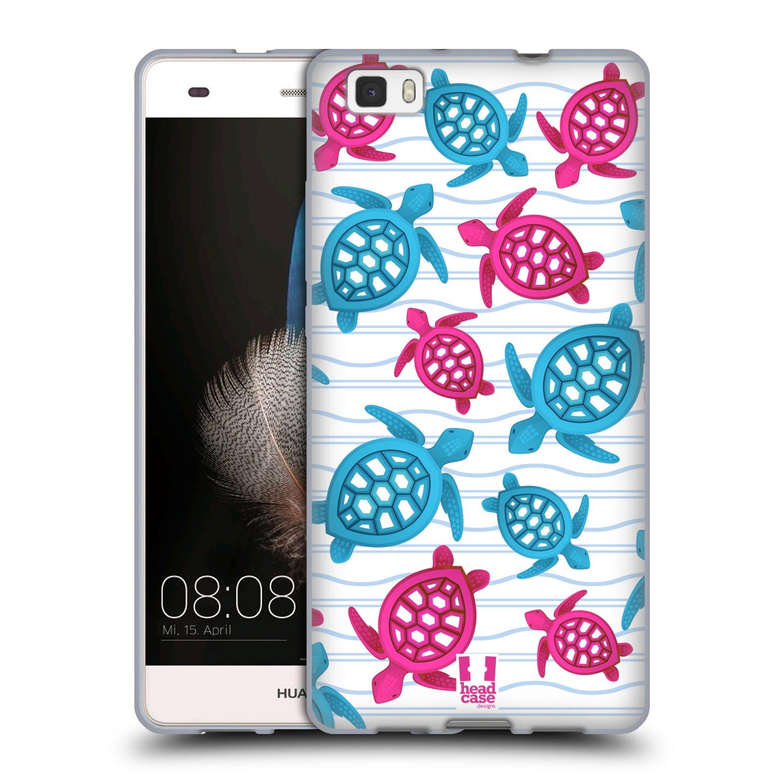 HEAD CASE silikonový obal na mobil HUAWEI P8 LITE vzor mořský živočich želva modrá a růžová