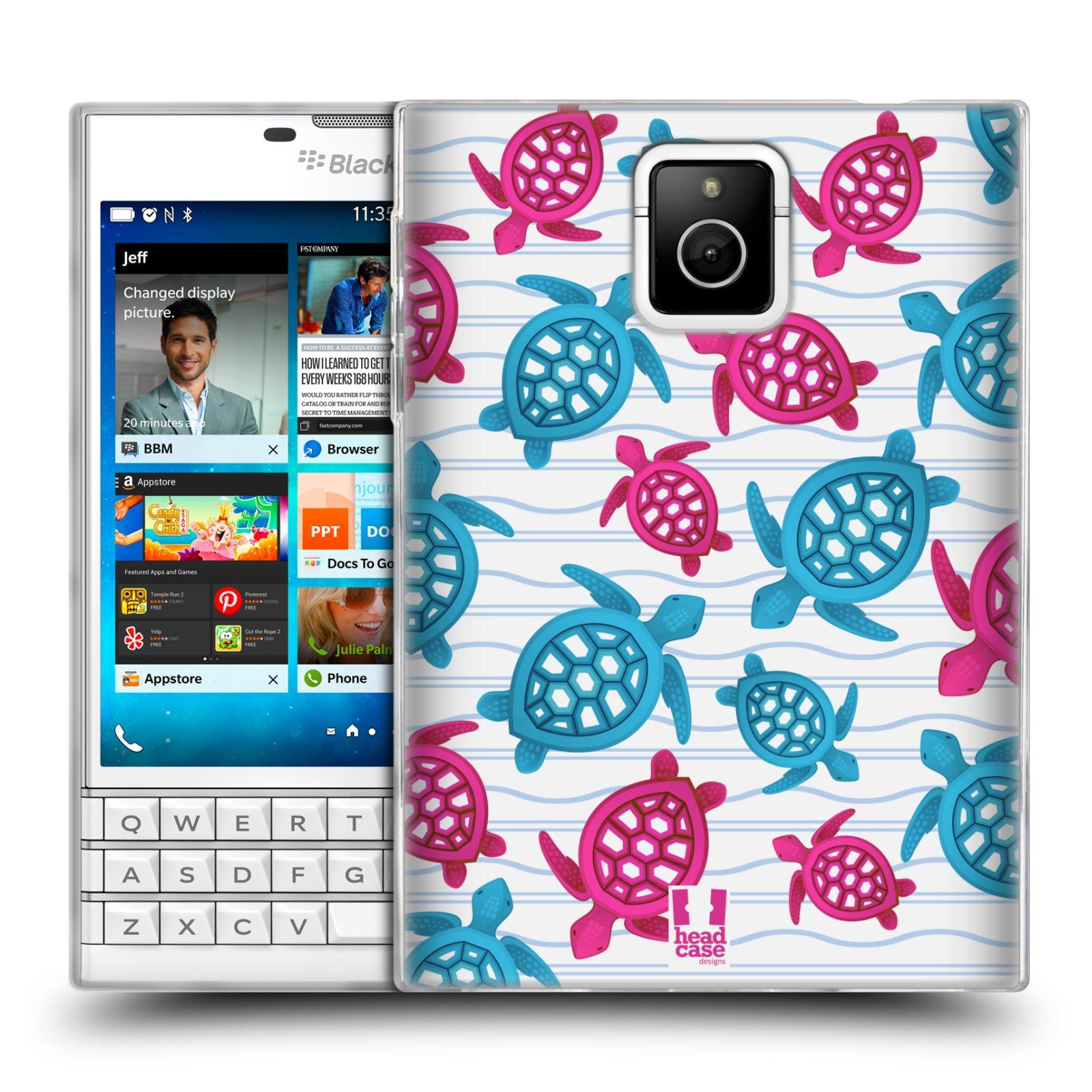 HEAD CASE silikonový obal na mobil Blackberry PASSPORT vzor mořský živočich želva modrá a růžová
