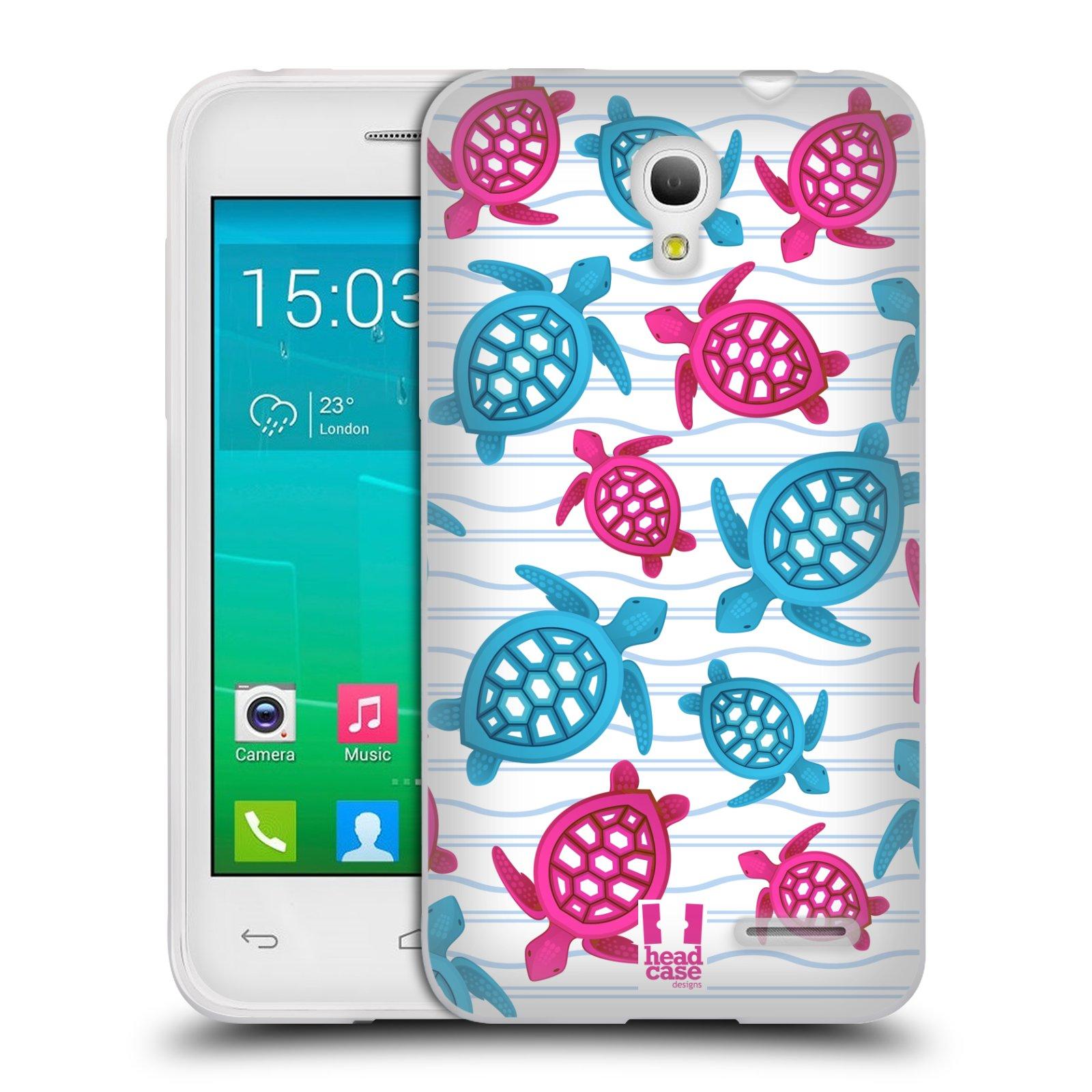 HEAD CASE silikonový obal na mobil Alcatel POP S3 OT-5050Y vzor mořský živočich želva modrá a růžová
