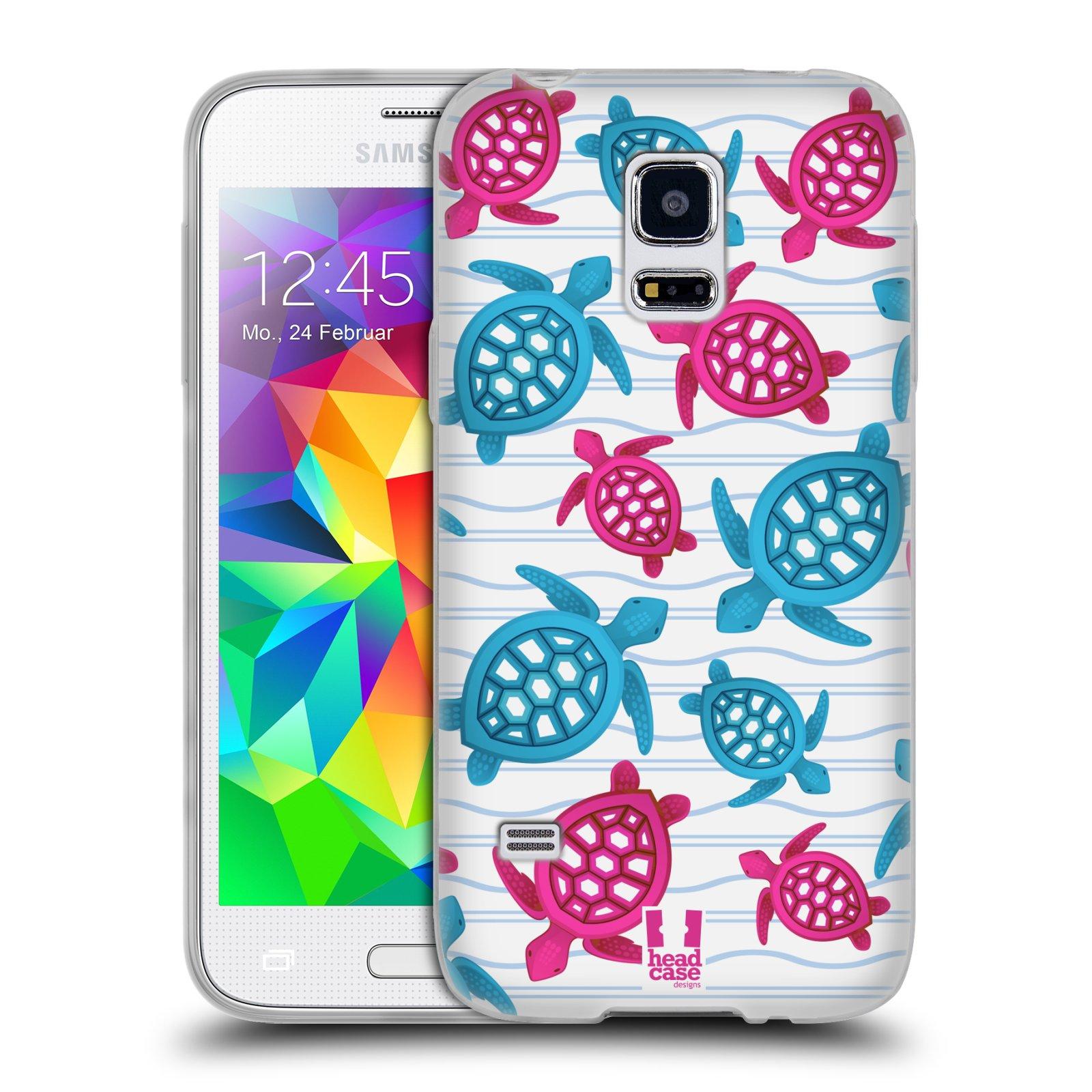 HEAD CASE silikonový obal na mobil Samsung Galaxy S5 MINI vzor mořský živočich želva modrá a růžová