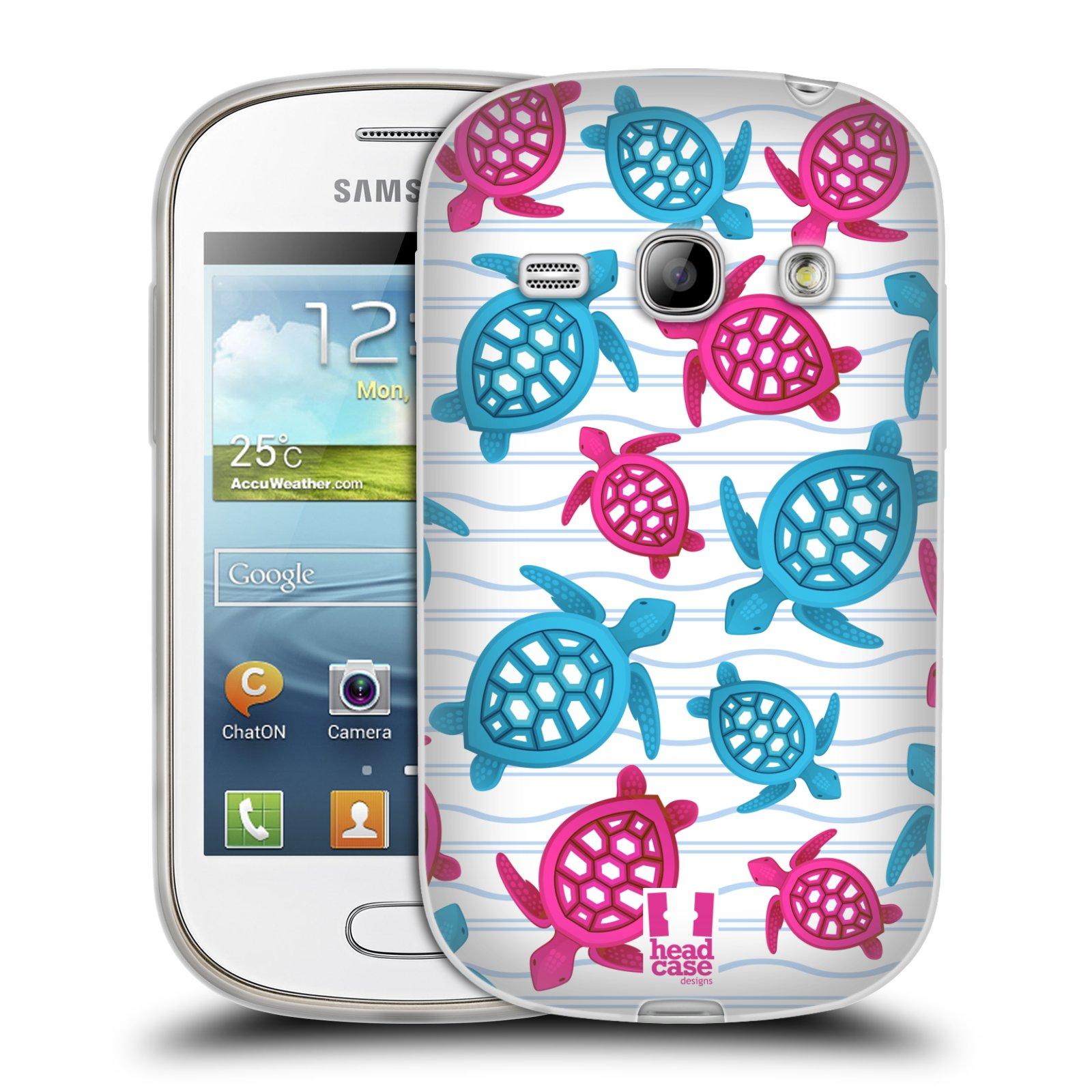 HEAD CASE silikonový obal na mobil Samsung Galaxy FAME vzor mořský živočich želva modrá a růžová