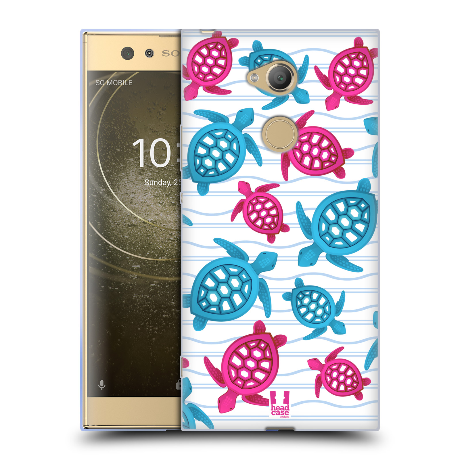 Pouzdro na mobil Sony Xperia XA2 Ultra vzor mořský živočich želva modrá a růžová