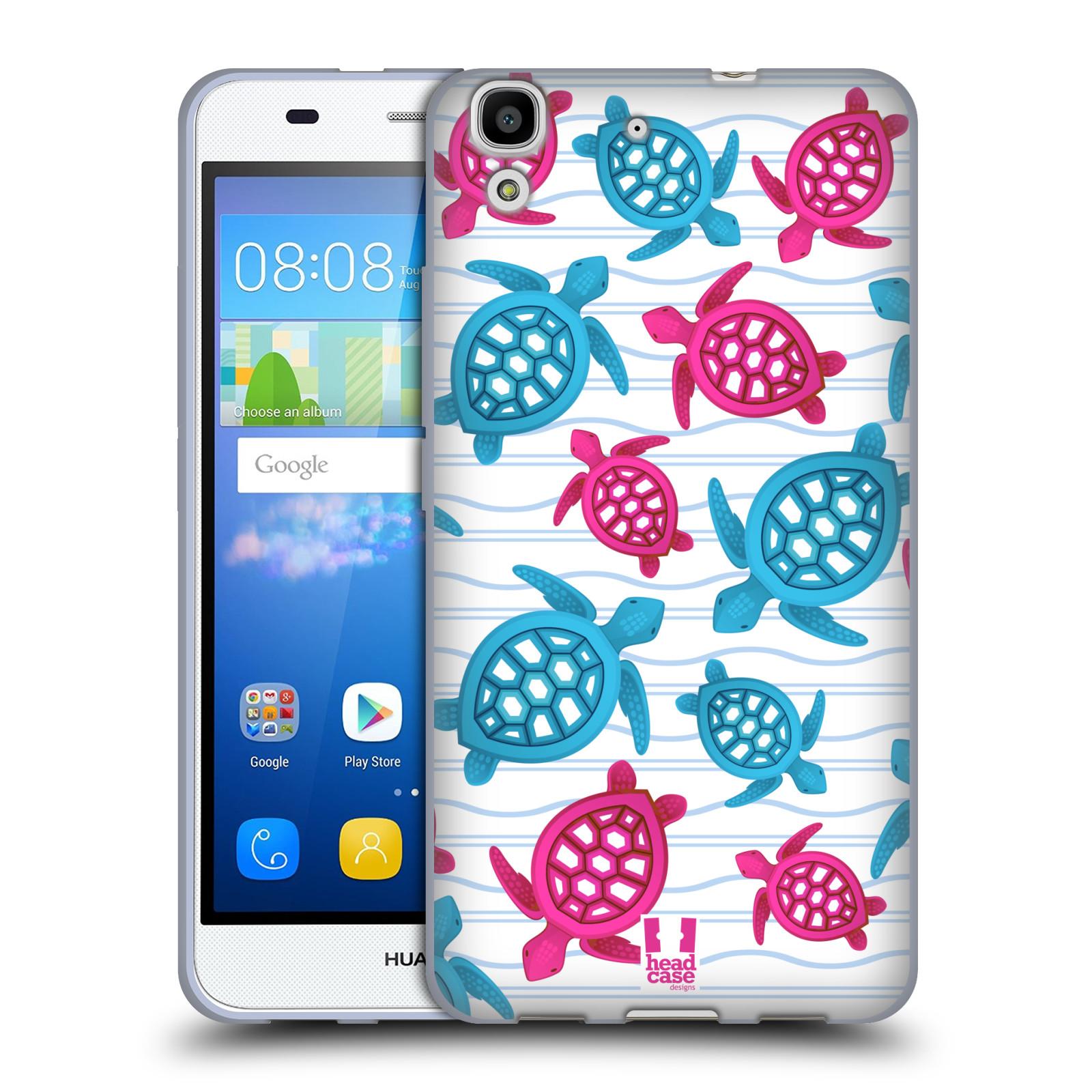 HEAD CASE silikonový obal na mobil HUAWEI Y6 vzor mořský živočich želva modrá a růžová