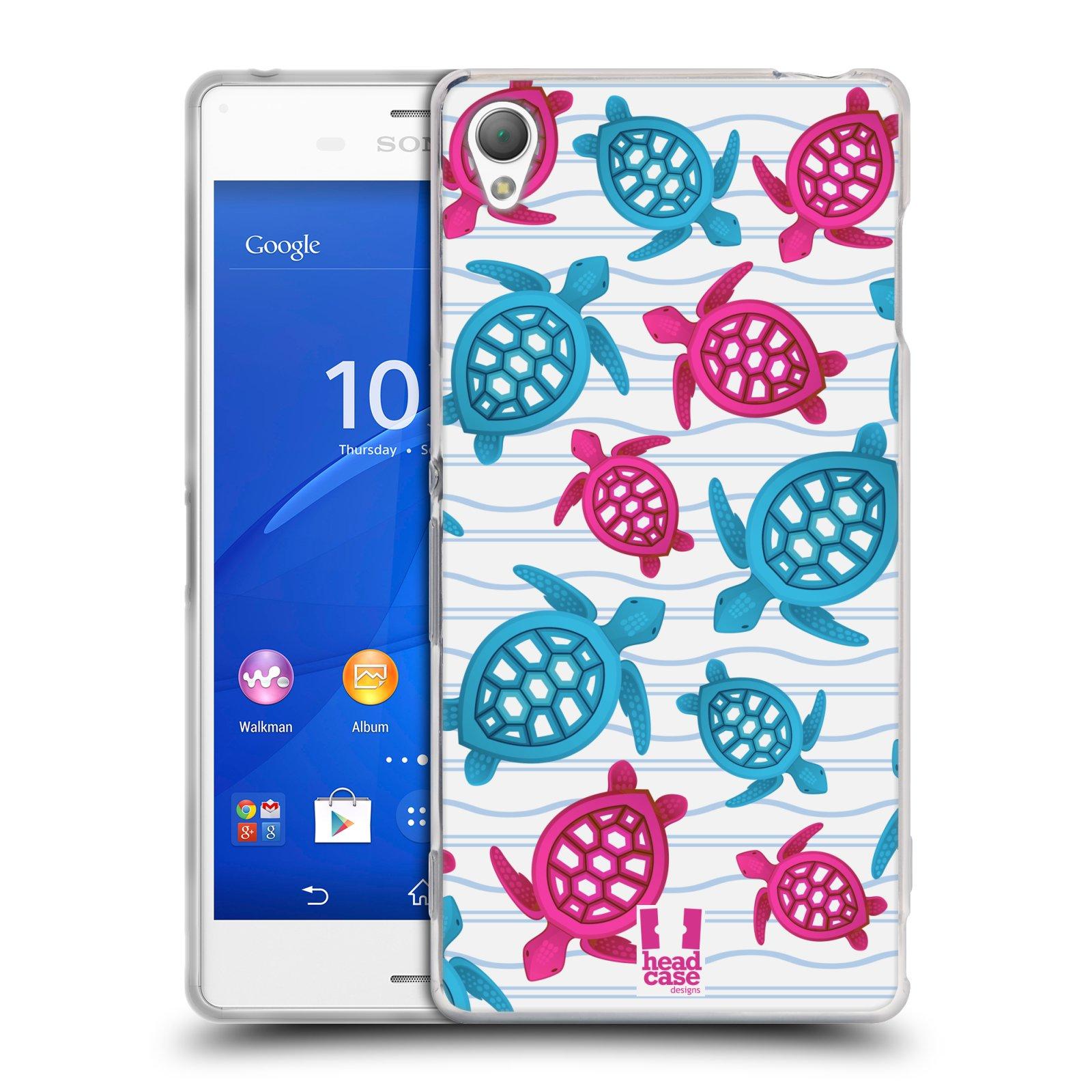 HEAD CASE silikonový obal na mobil Sony Xperia Z3 vzor mořský živočich želva modrá a růžová