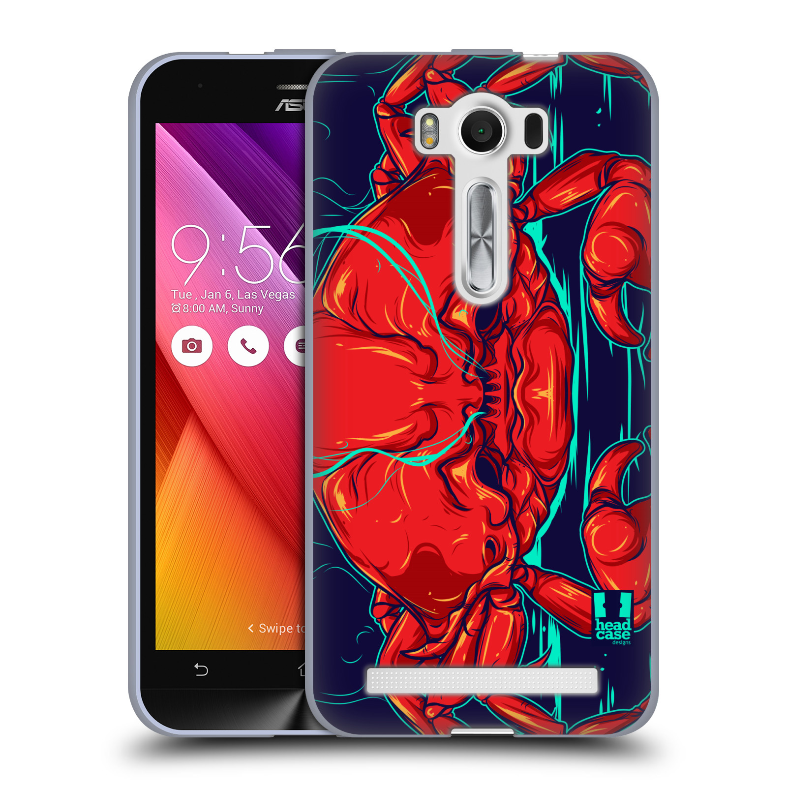 """HEAD CASE silikonový obal na mobil Asus Zenfone 2 LASER (ZE500KL s 5"""" displejem) vzor mořská monstra krab"""