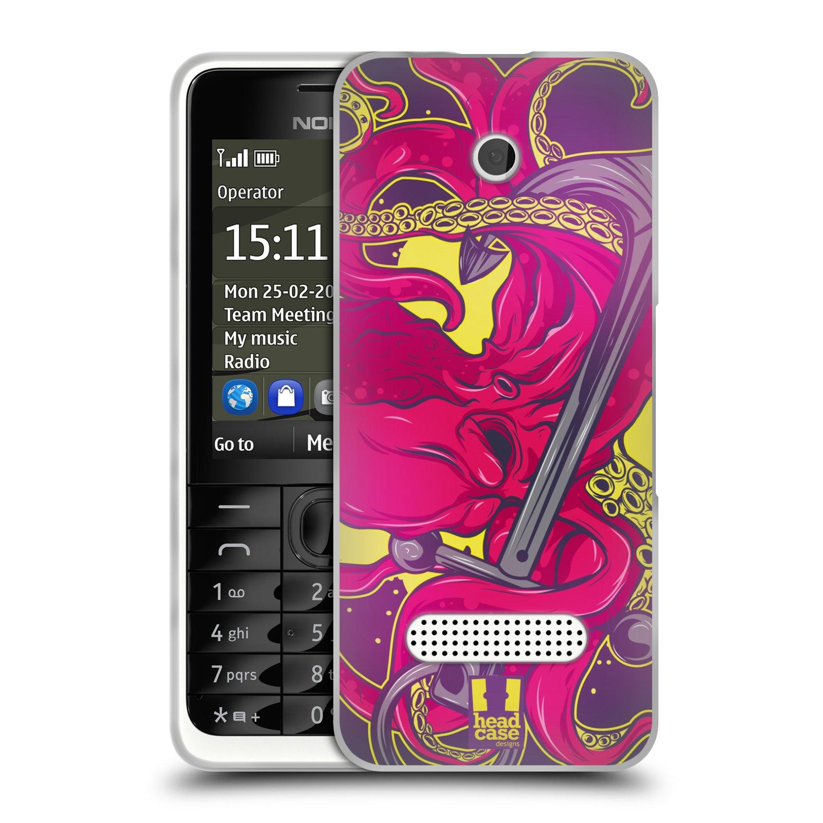HEAD CASE silikonový obal na mobil NOKIA 301 vzor mořská monstra chobotnice