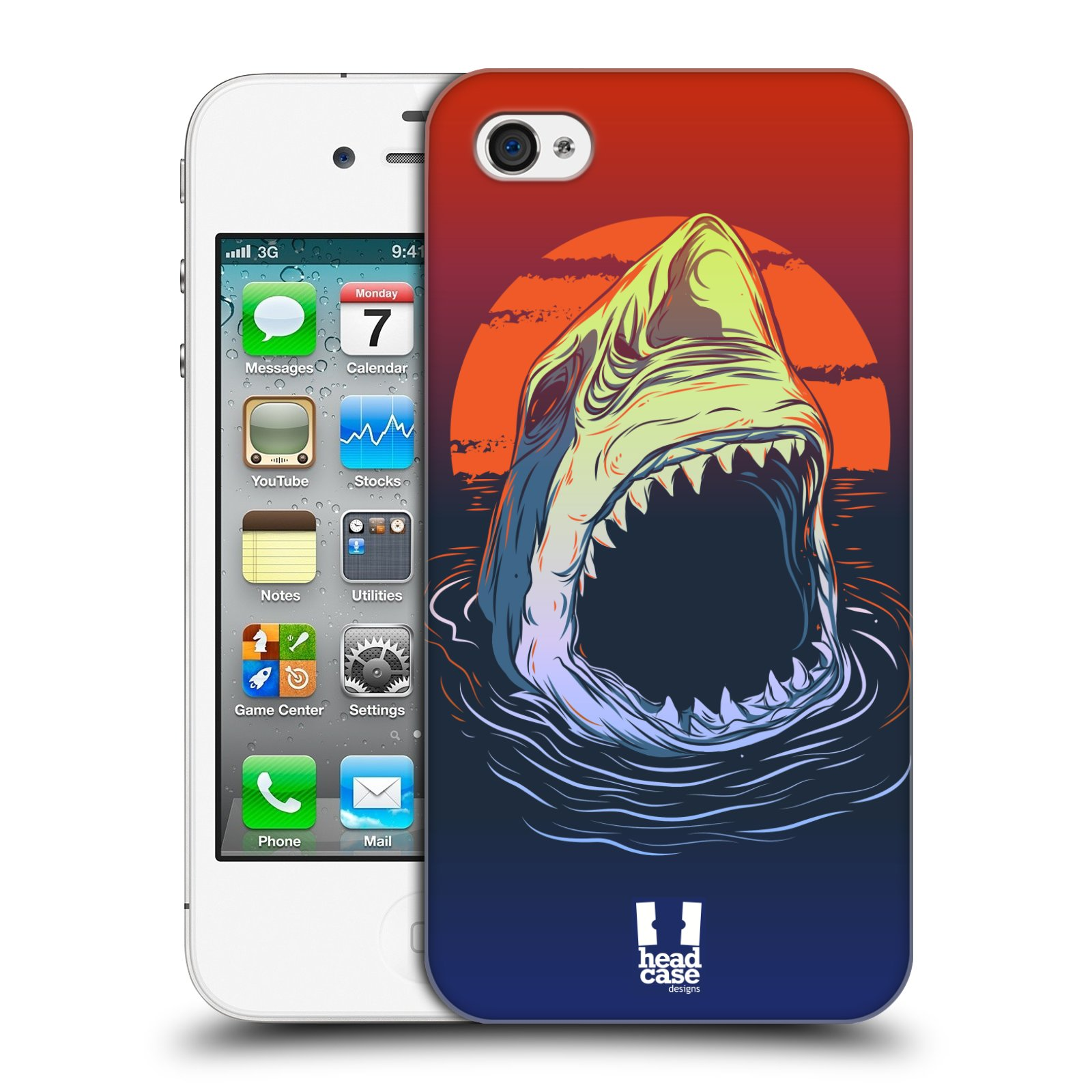 HEAD CASE plastový obal na mobil Apple Iphone 4/4S vzor mořská monstra žralok