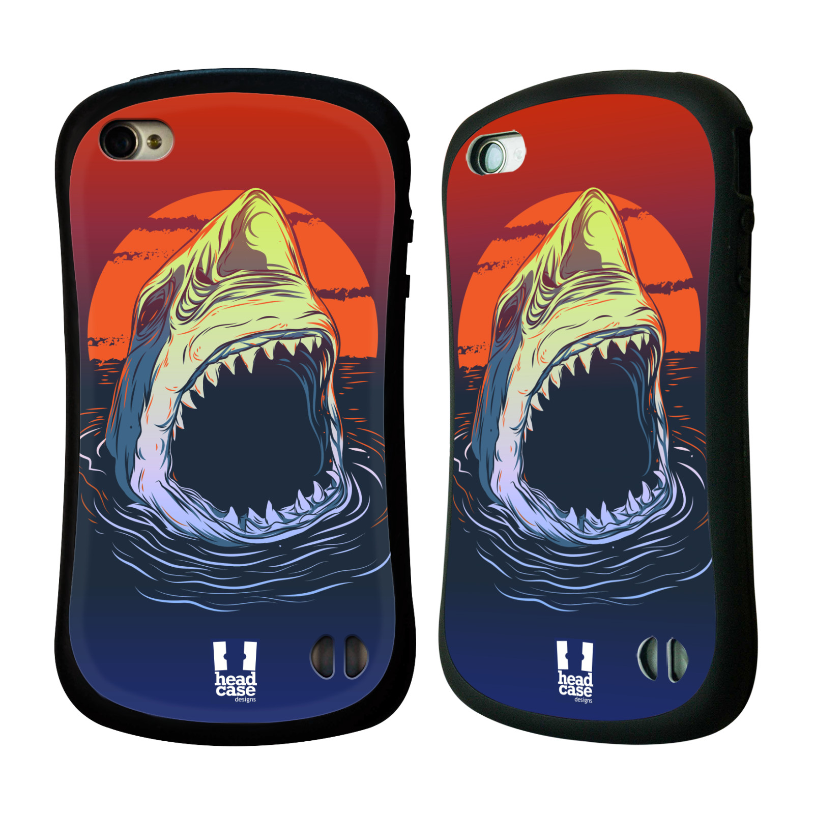 HEAD CASE silikon/plast odolný obal na mobil Apple Iphone 4/4S vzor mořská monstra žralok