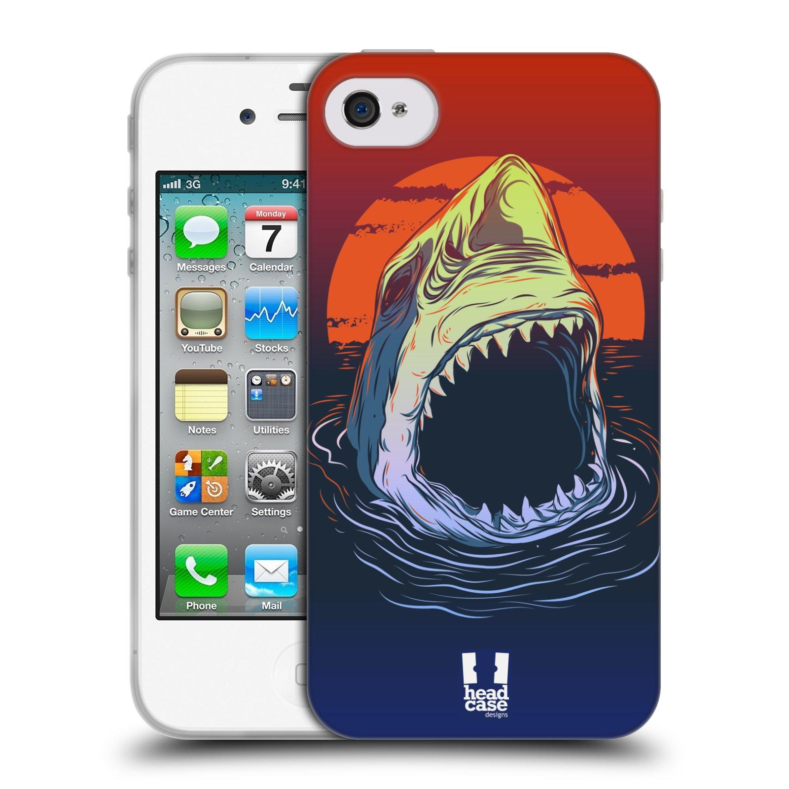 HEAD CASE silikonový obal na mobil Apple Iphone 4/4S vzor mořská monstra žralok