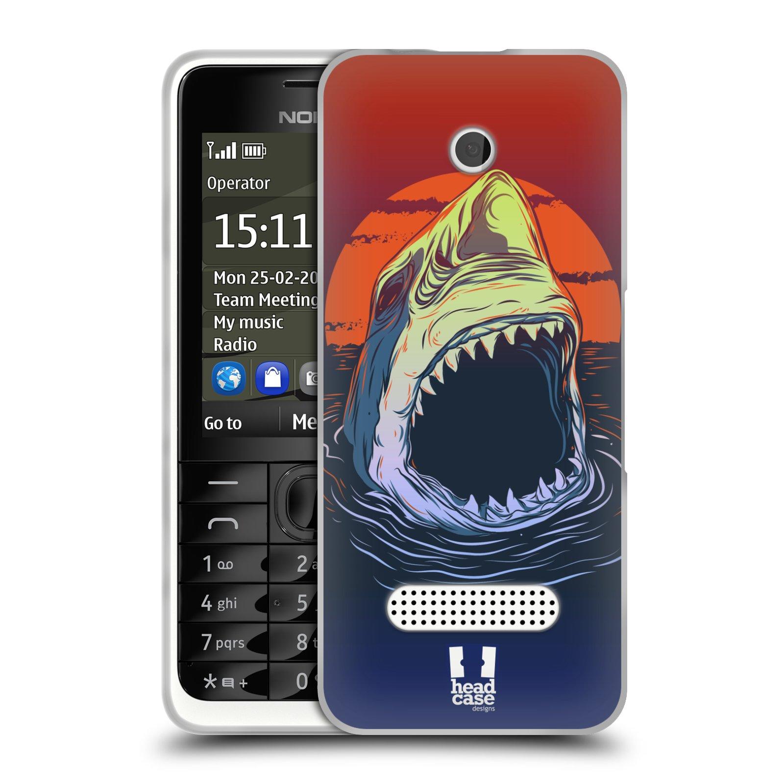 HEAD CASE silikonový obal na mobil NOKIA 301 vzor mořská monstra žralok