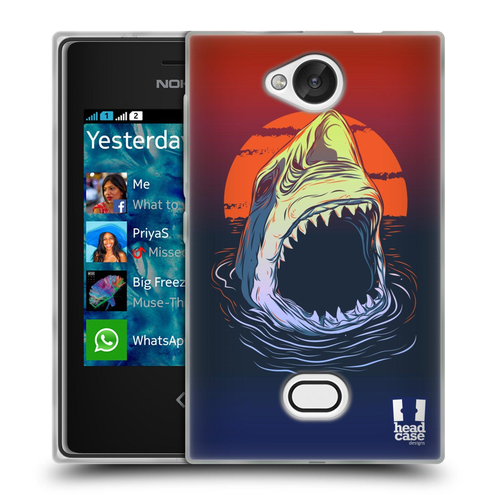 HEAD CASE silikonový obal na mobil NOKIA Asha 503 vzor mořská monstra žralok