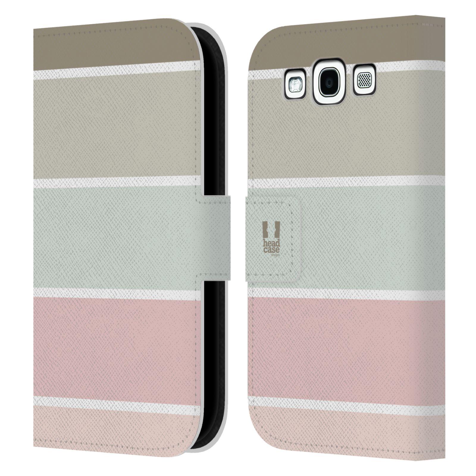 HEAD CASE Flipové pouzdro pro mobil Samsung Galaxy S3 Francouzský venkov pruhy růžová a šedá
