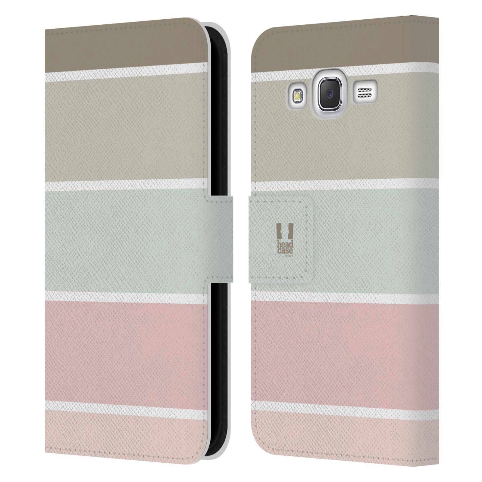 HEAD CASE Flipové pouzdro pro mobil Samsung Galaxy J5 (J500) / J5 DUOS Francouzský venkov pruhy růžová a šedá