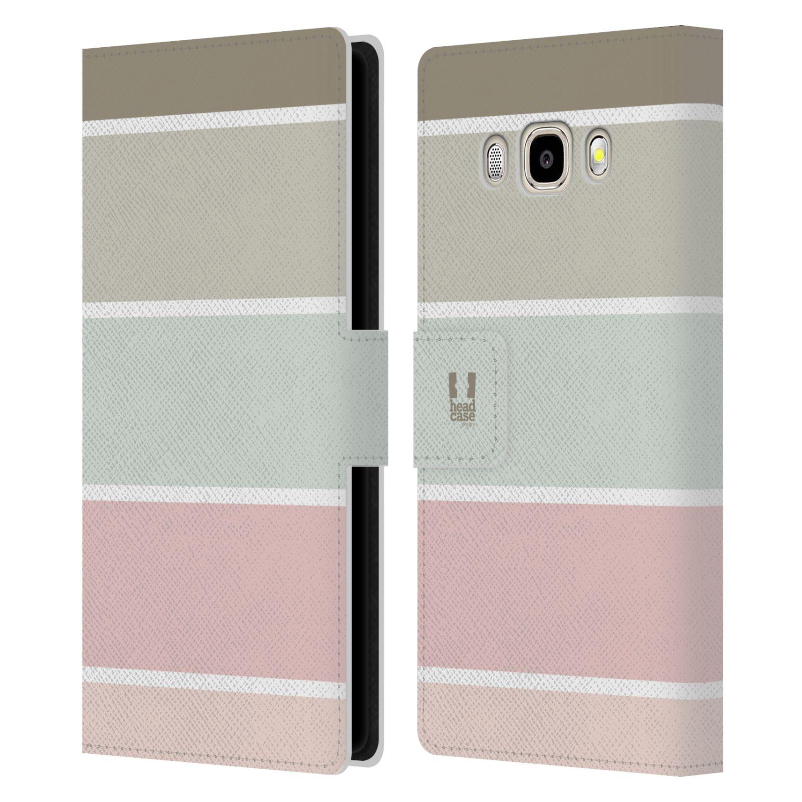 HEAD CASE Flipové pouzdro pro mobil Samsung Galaxy J5 2016 Francouzský venkov pruhy růžová a šedá