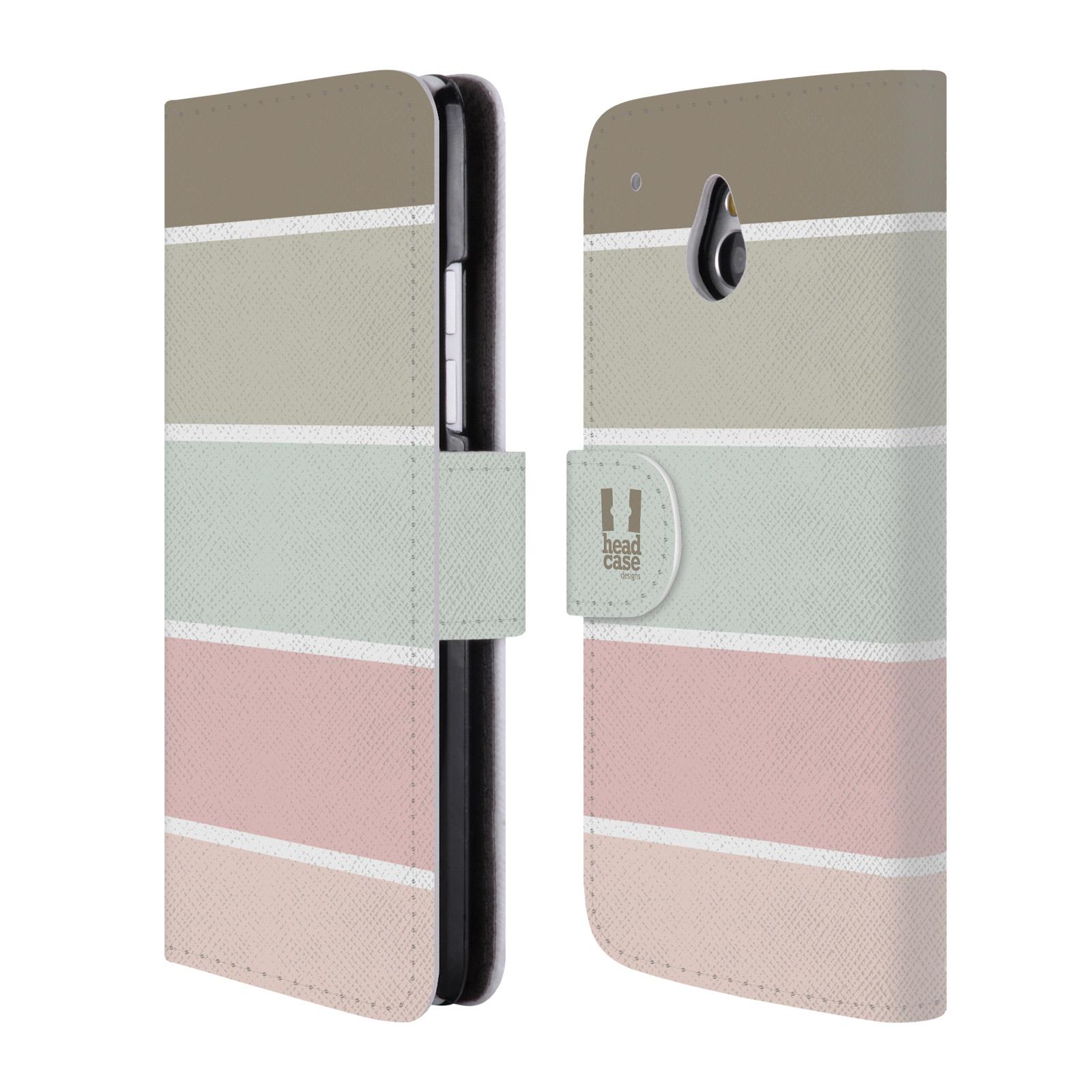 HEAD CASE Flipové pouzdro pro mobil HTC ONE MINI (M4) Francouzský venkov pruhy růžová a šedá