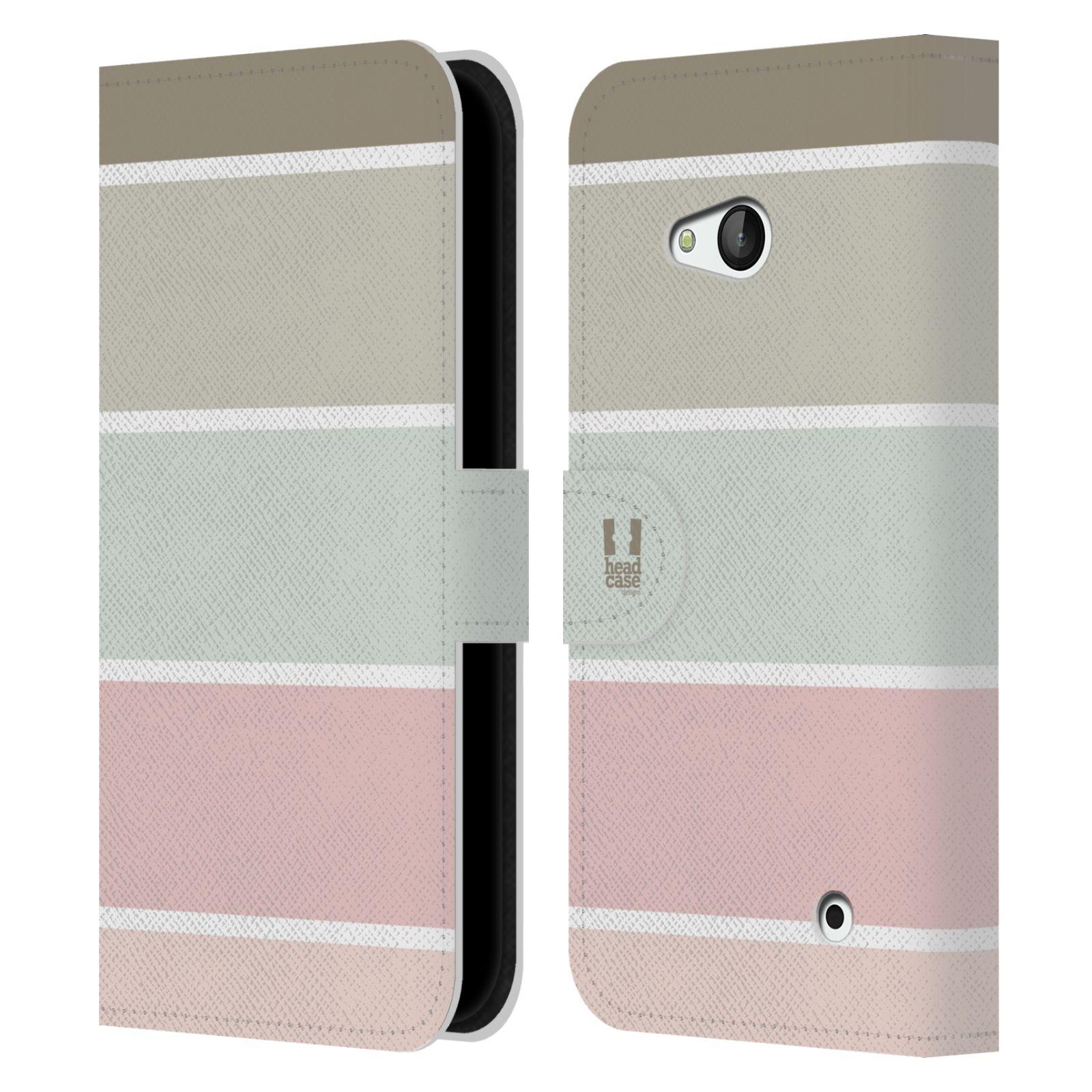 HEAD CASE Flipové pouzdro pro mobil NOKIA / MICROSOFT LUMIA 640 / LUMIA 640 DUAL Francouzský venkov pruhy růžová a šedá