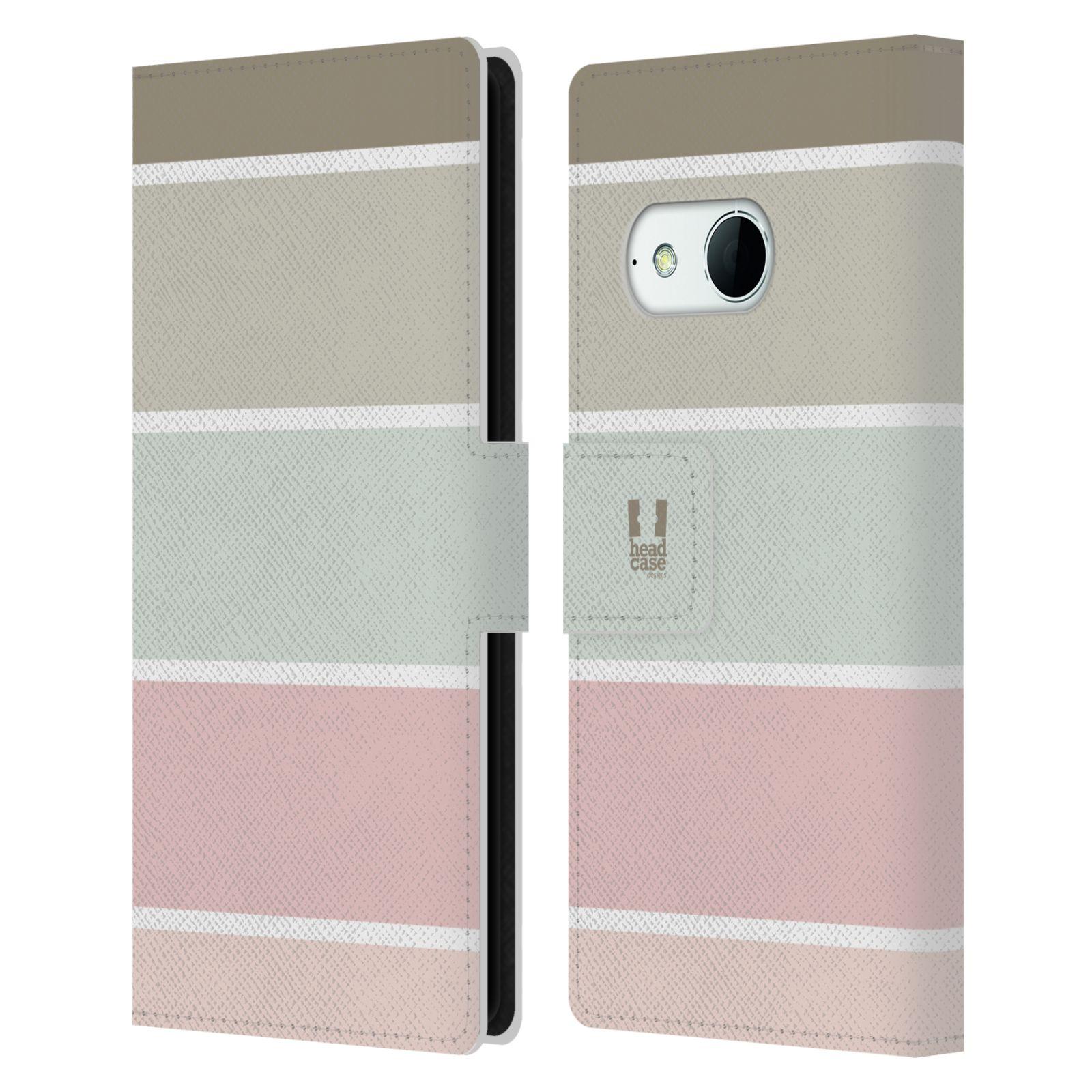 HEAD CASE Flipové pouzdro pro mobil HTC ONE MINI 2 (M8) Francouzský venkov pruhy růžová a šedá
